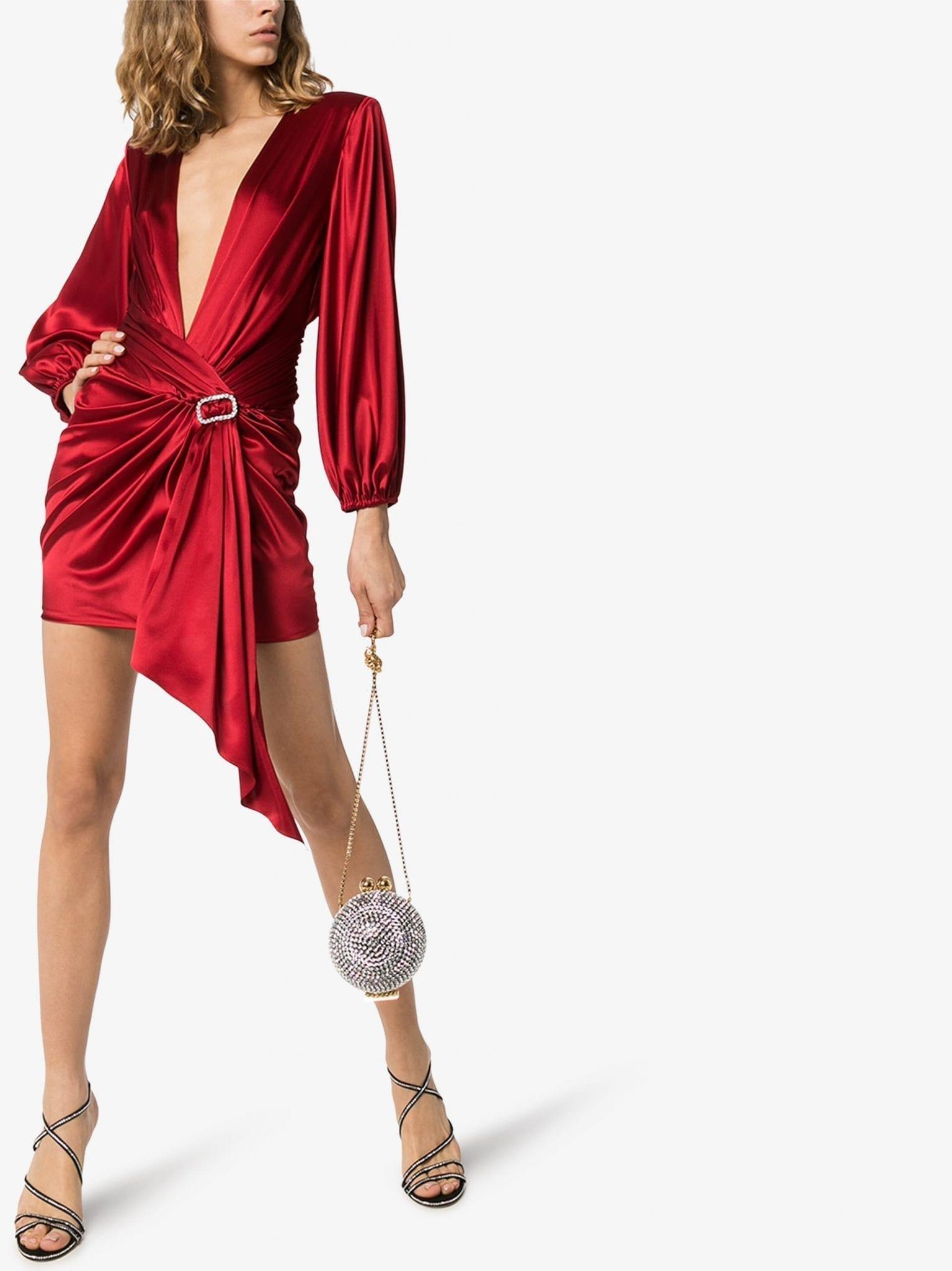 ALEXANDRE VAUTHIER Crystal Buckle Draped Mini Dress