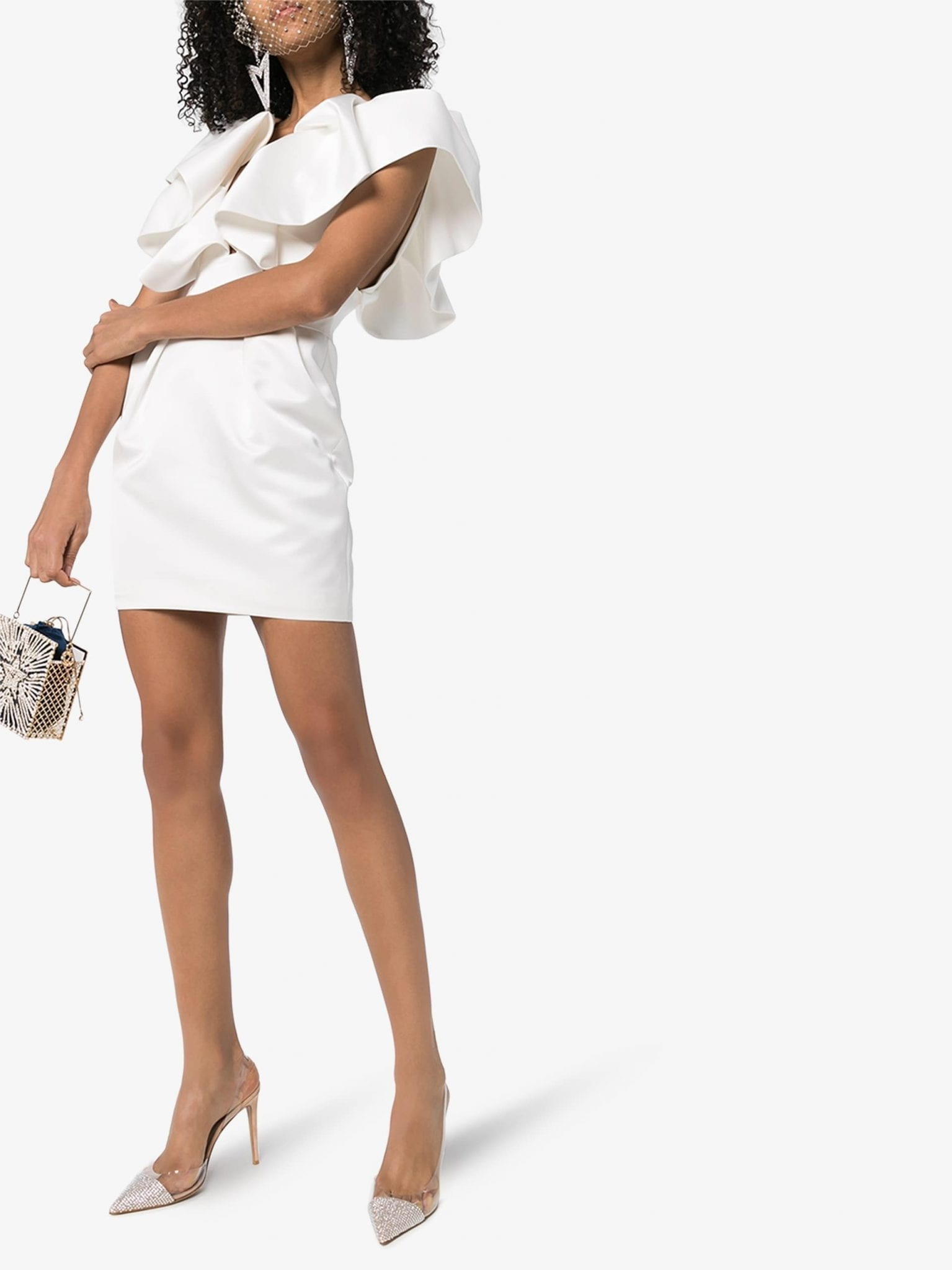 ALEXANDRE VAUTHIER Ruffle Shoulder Mini Dress
