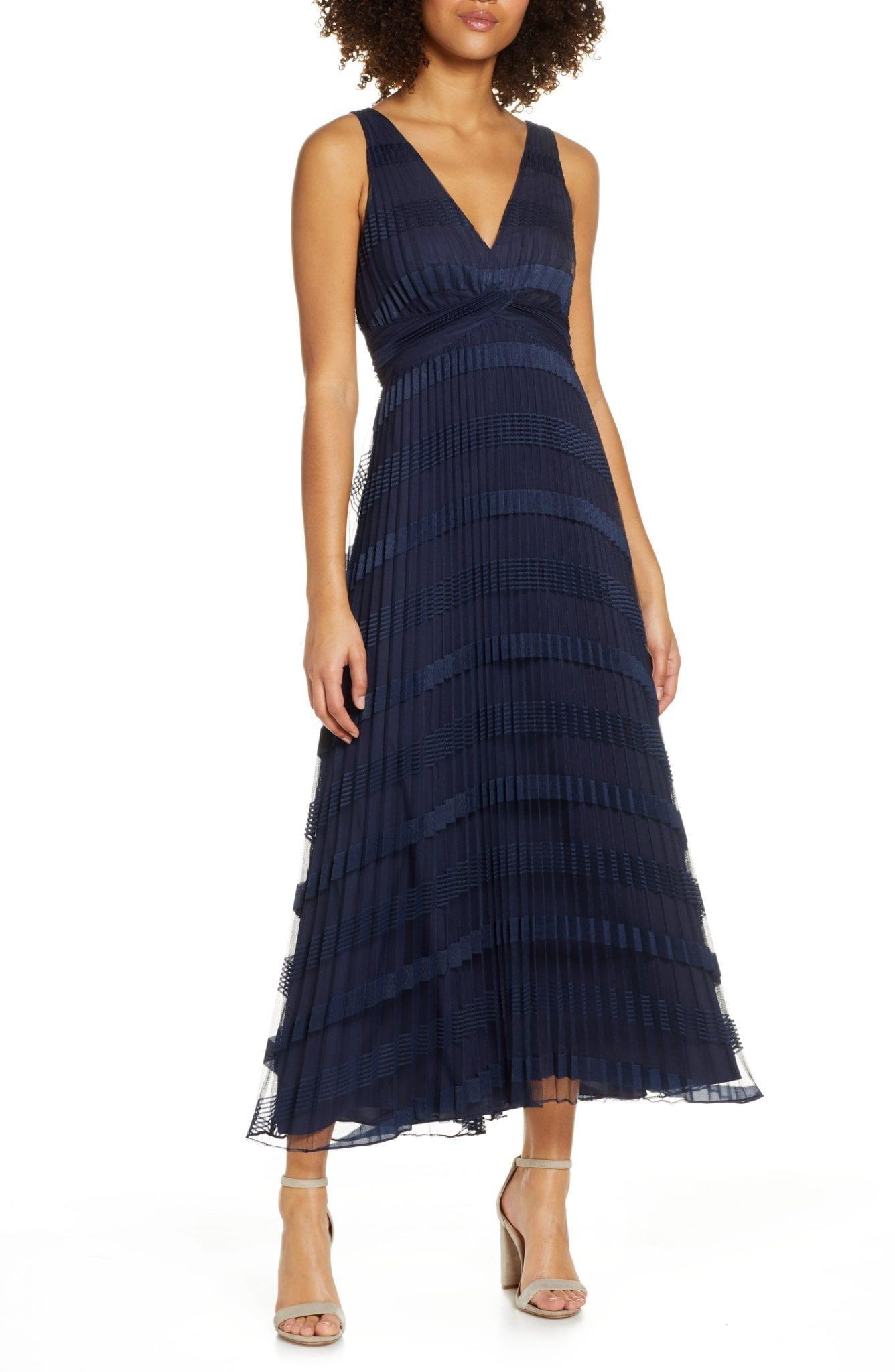 ALI & JAY Hollyhock Pleated Stripe Mesh Midi Dress