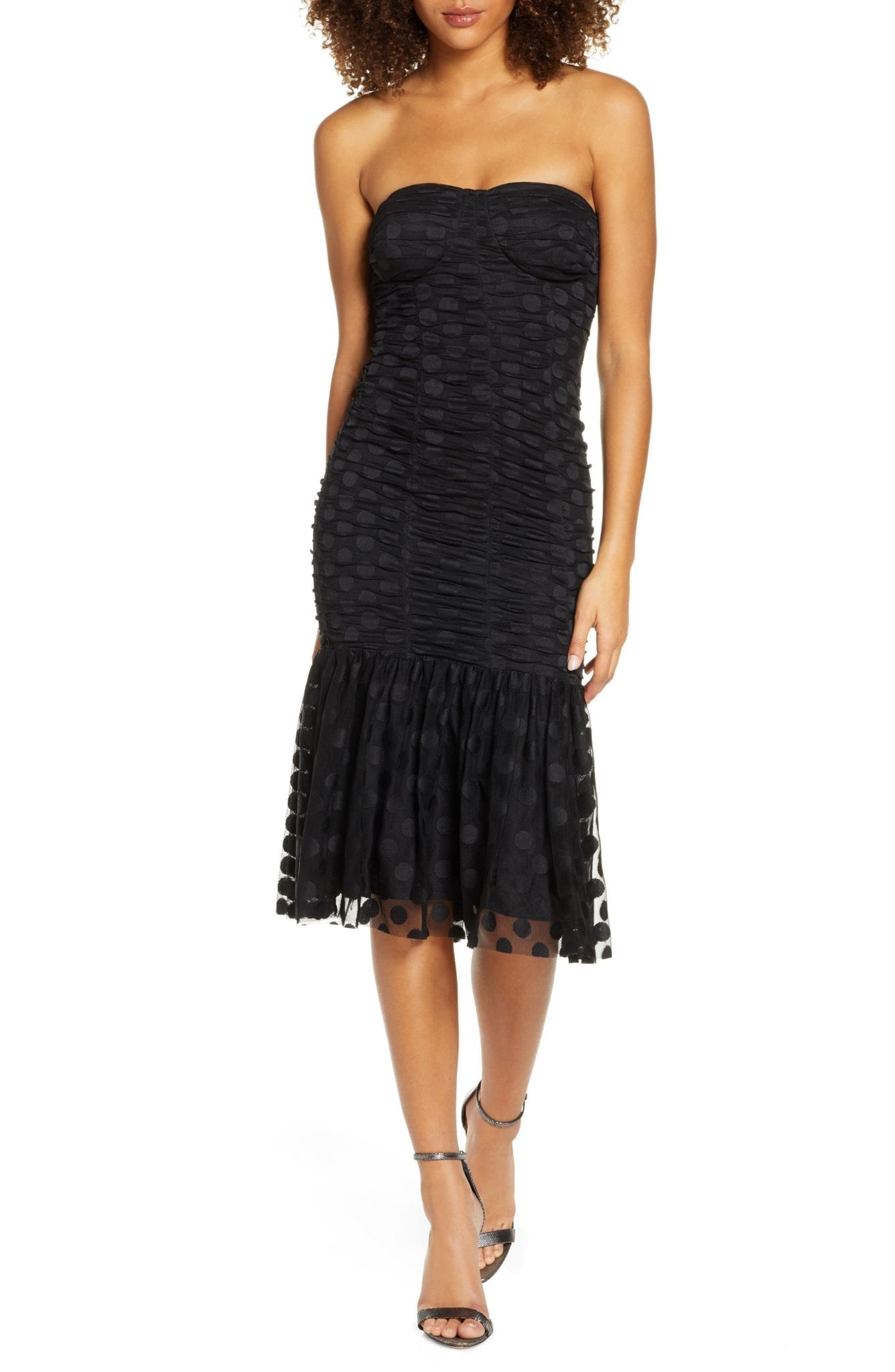 ALI & JAY Strapless Mesh Cocktail Dress