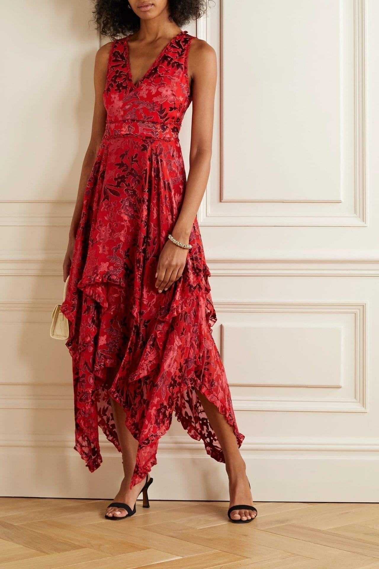ALICE + OLIVIA Sammi Asymmetric Fil Coupé Chiffon Dress