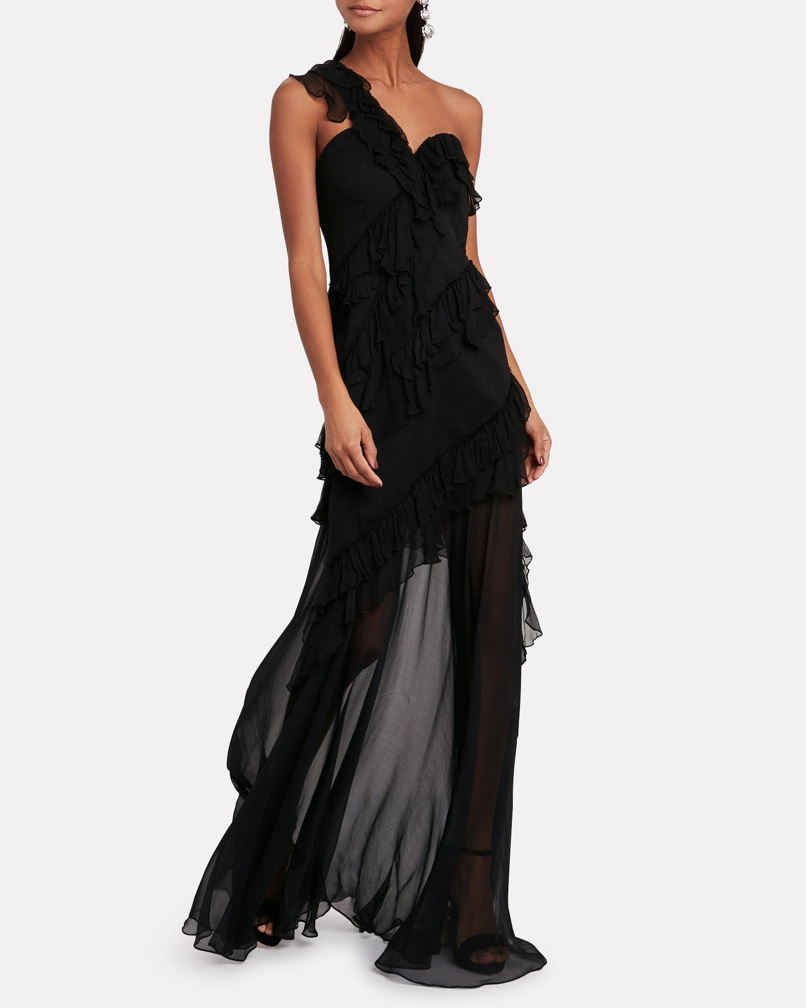 AMUR Harlow Crinkled Chiffon One-Shoulder Gown