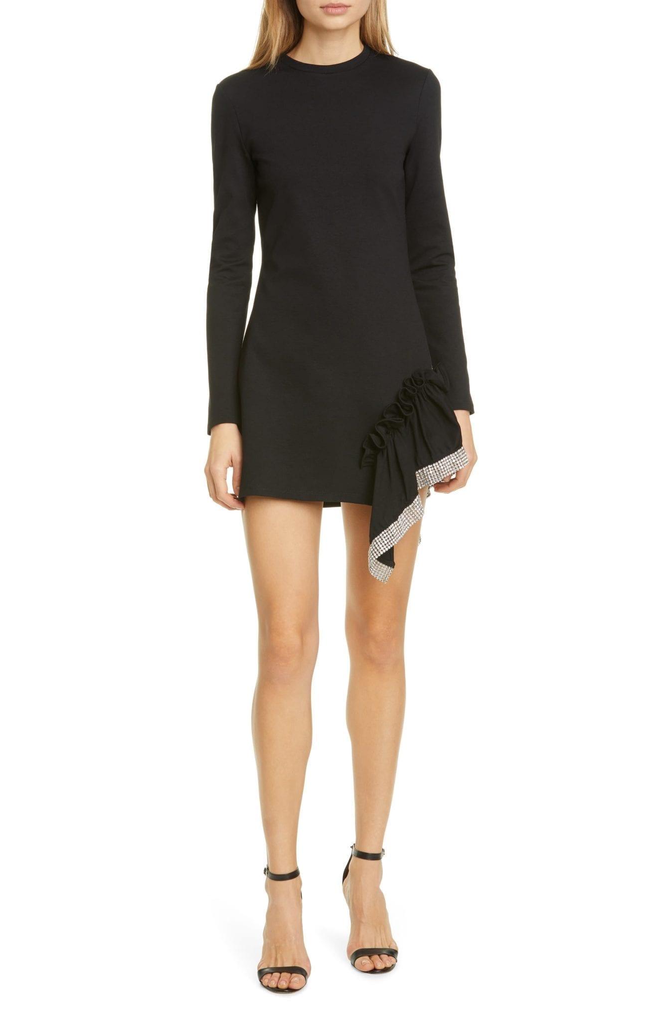 AREA Crystal Hem Long Sleeve Mini Dress