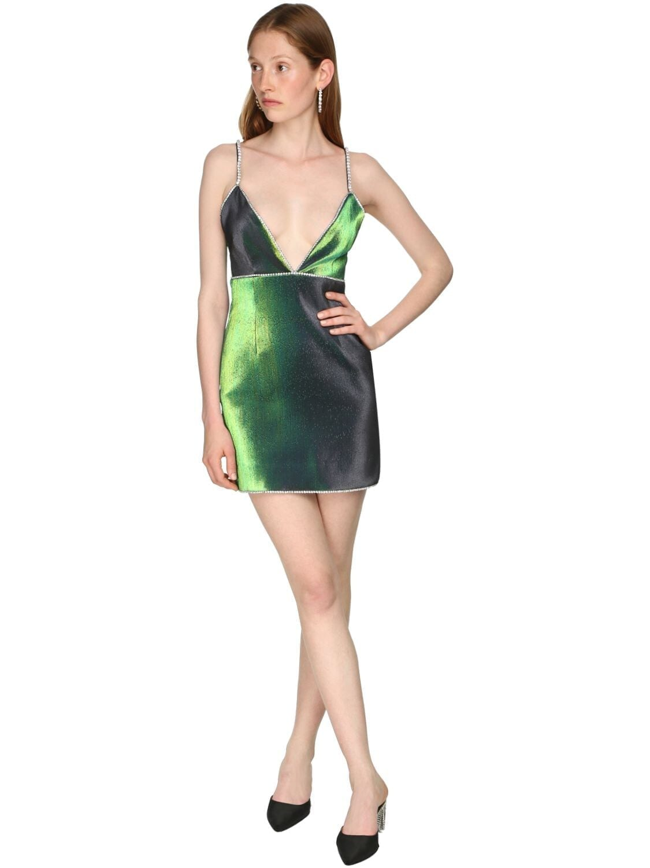 AREA Crystal Straps Stretch Lamé Mini Dress