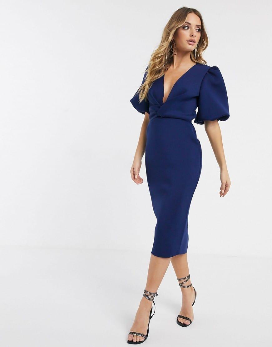 ASOS DESIGN Bubble Sleeve Twist Detail Midi Pencil Dress