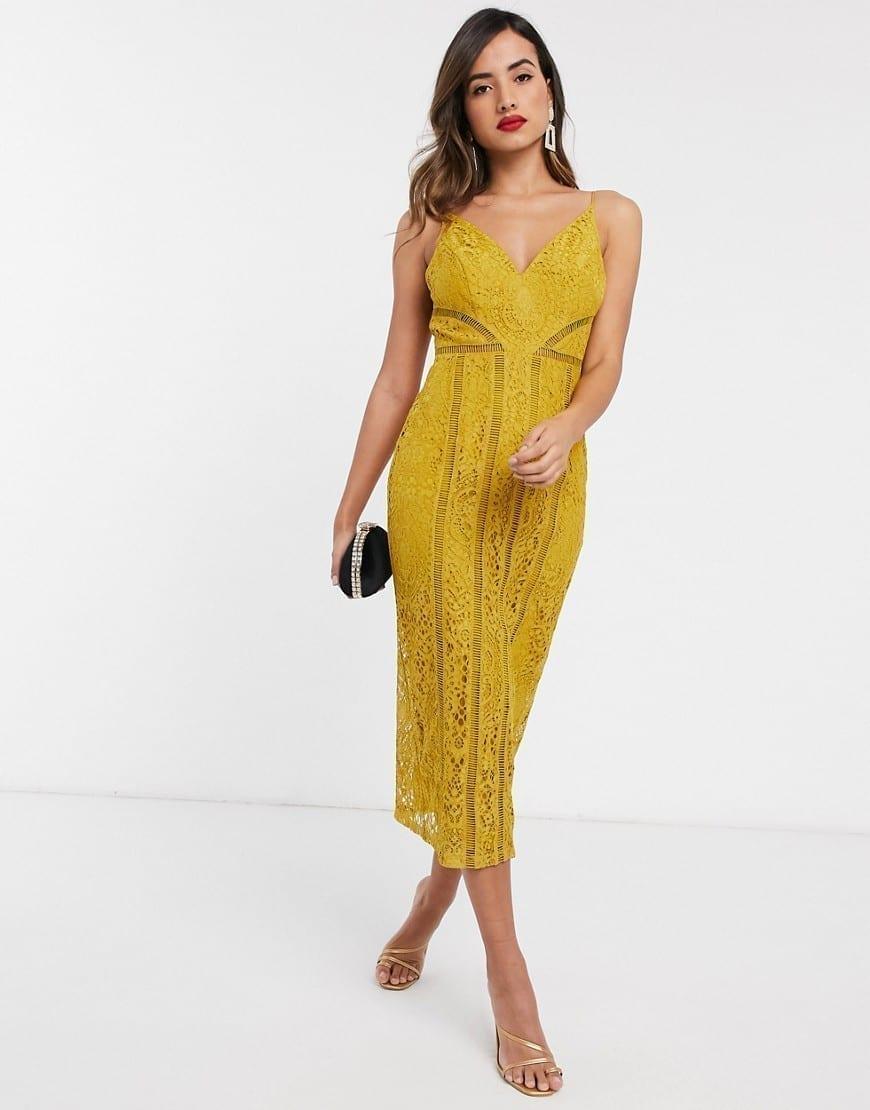 ASOS DESIGN Ladder Trim Detail Lace Midi Dress