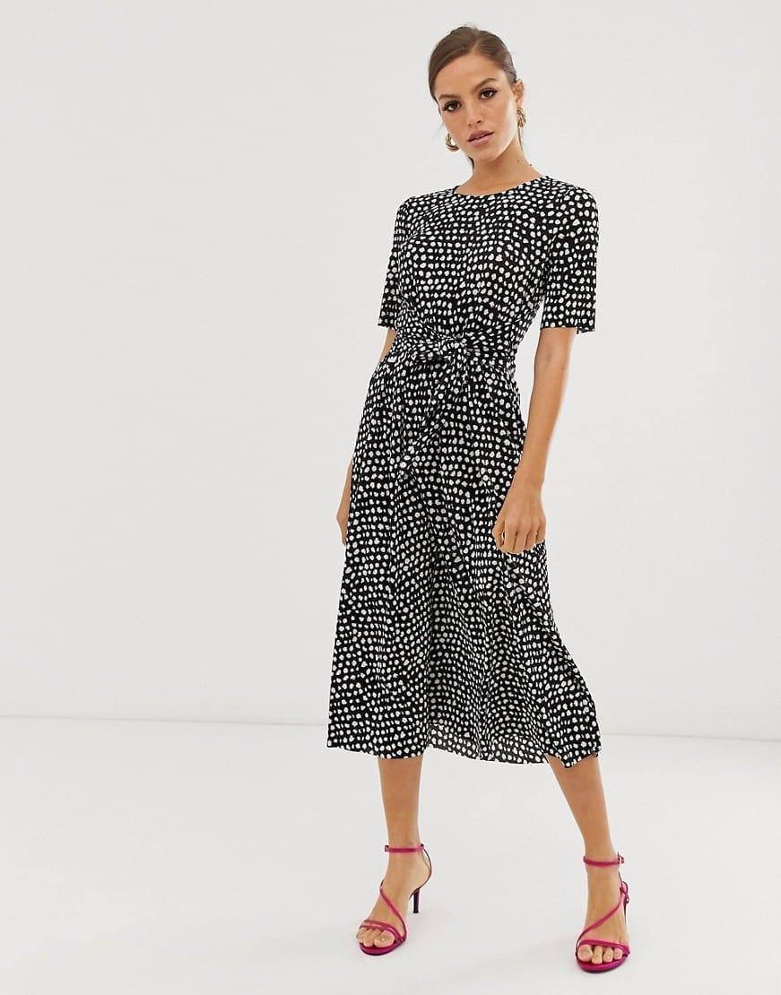 ASOS DESIGN Midi Tie Waist Plisse Dress