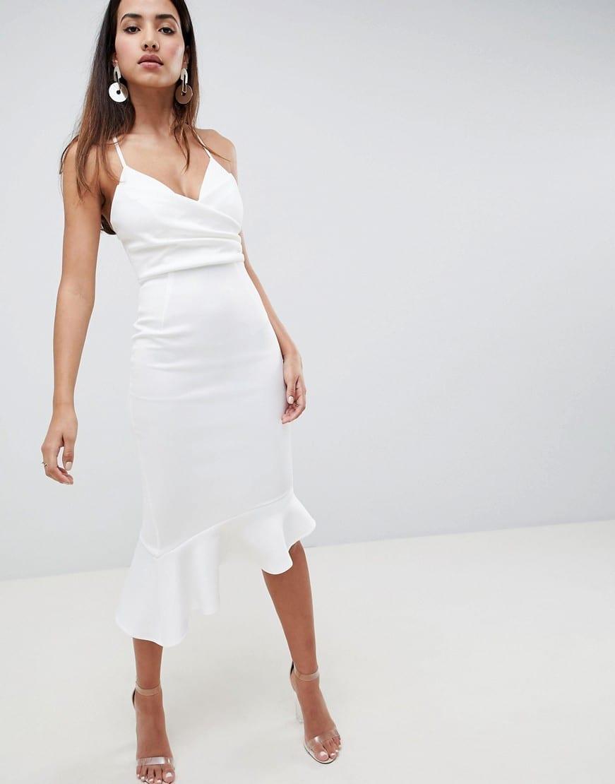 ASOS DESIGN Scuba Cami Pephem Midi Dress