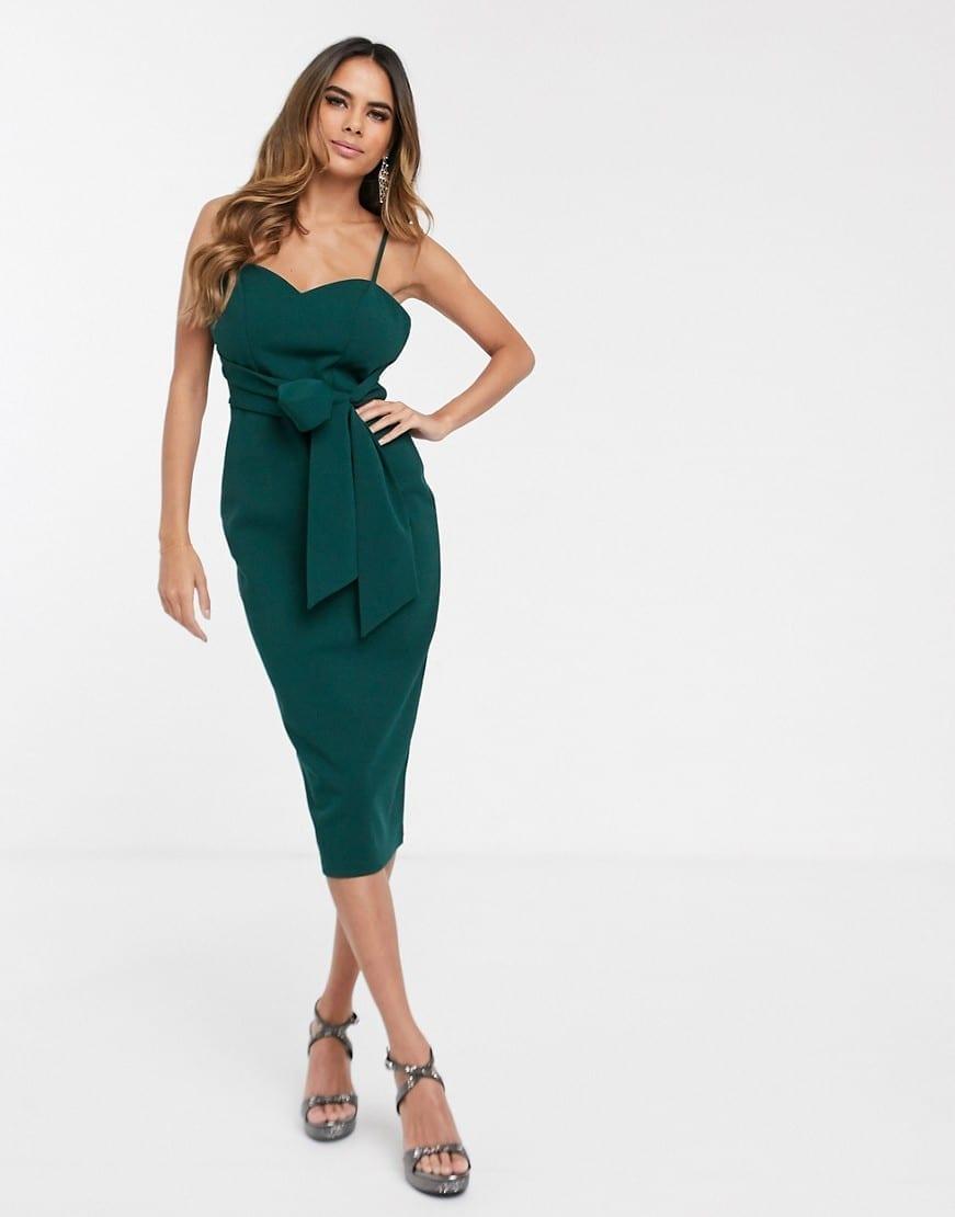 ASOS DESIGN Tie Waist Cami Midi Dress