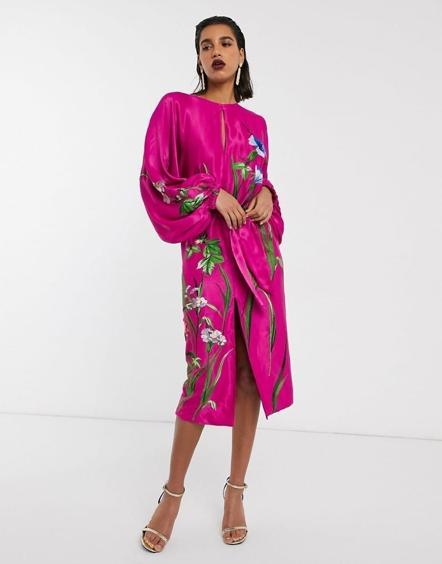 ASOS EDITION Floral Embroidered Belted Midi Dress