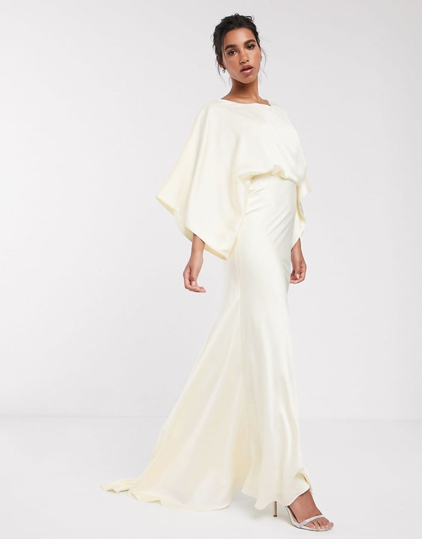 ASOS EDITION Kimono Plunge Back Maxi Wedding Dress