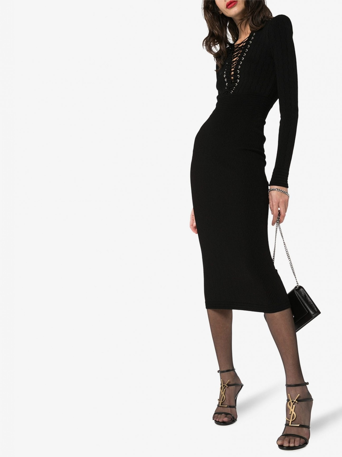 BALMAIN Lace-Up V-Neck Fitted Dress