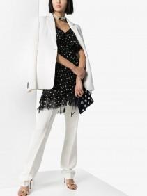 BALMAIN Polka Dot Ruffle Silk Mini Dress