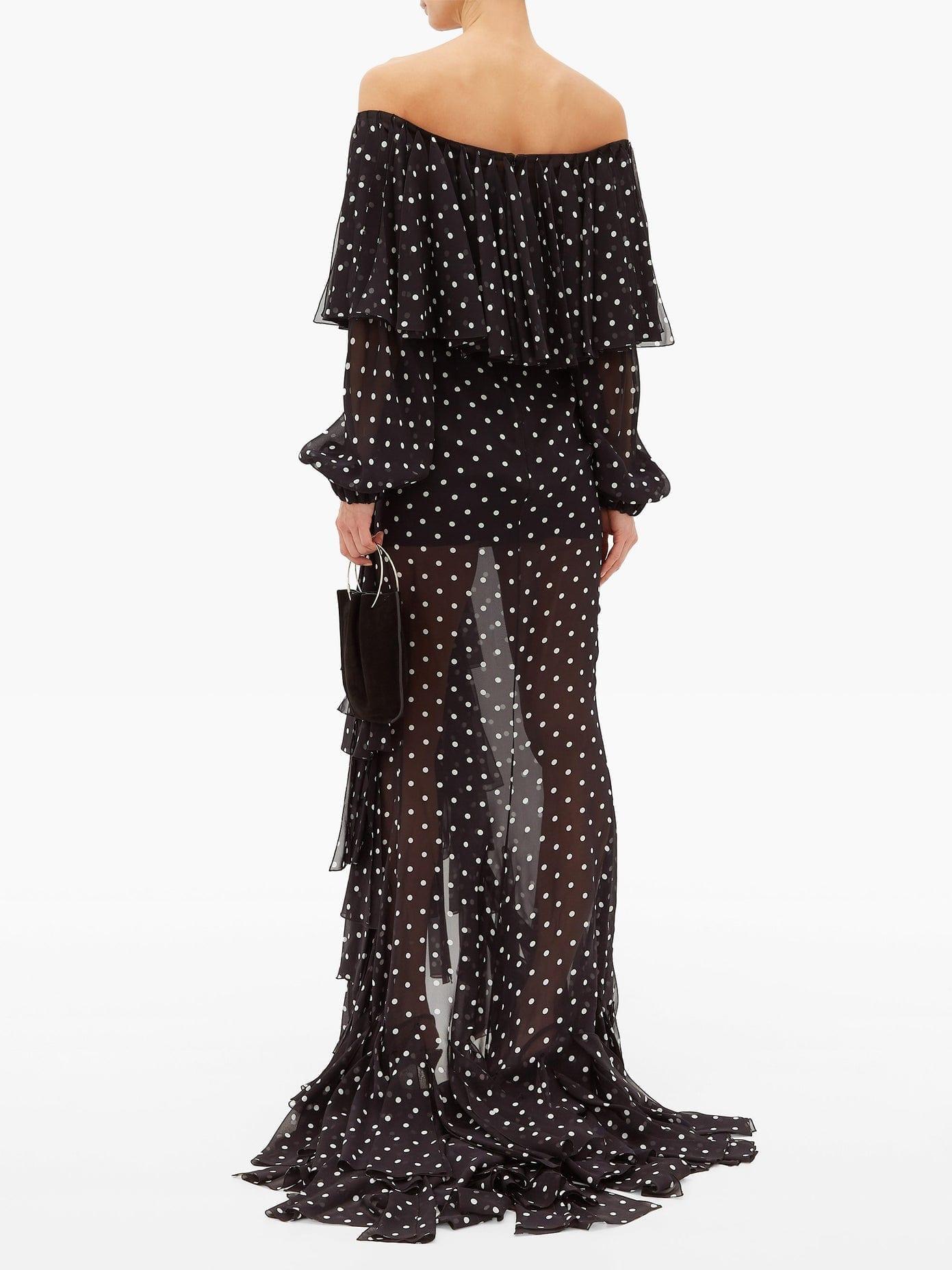 BALMAIN Polka-dot Off-the-shoulder Ruffled Silk Dress