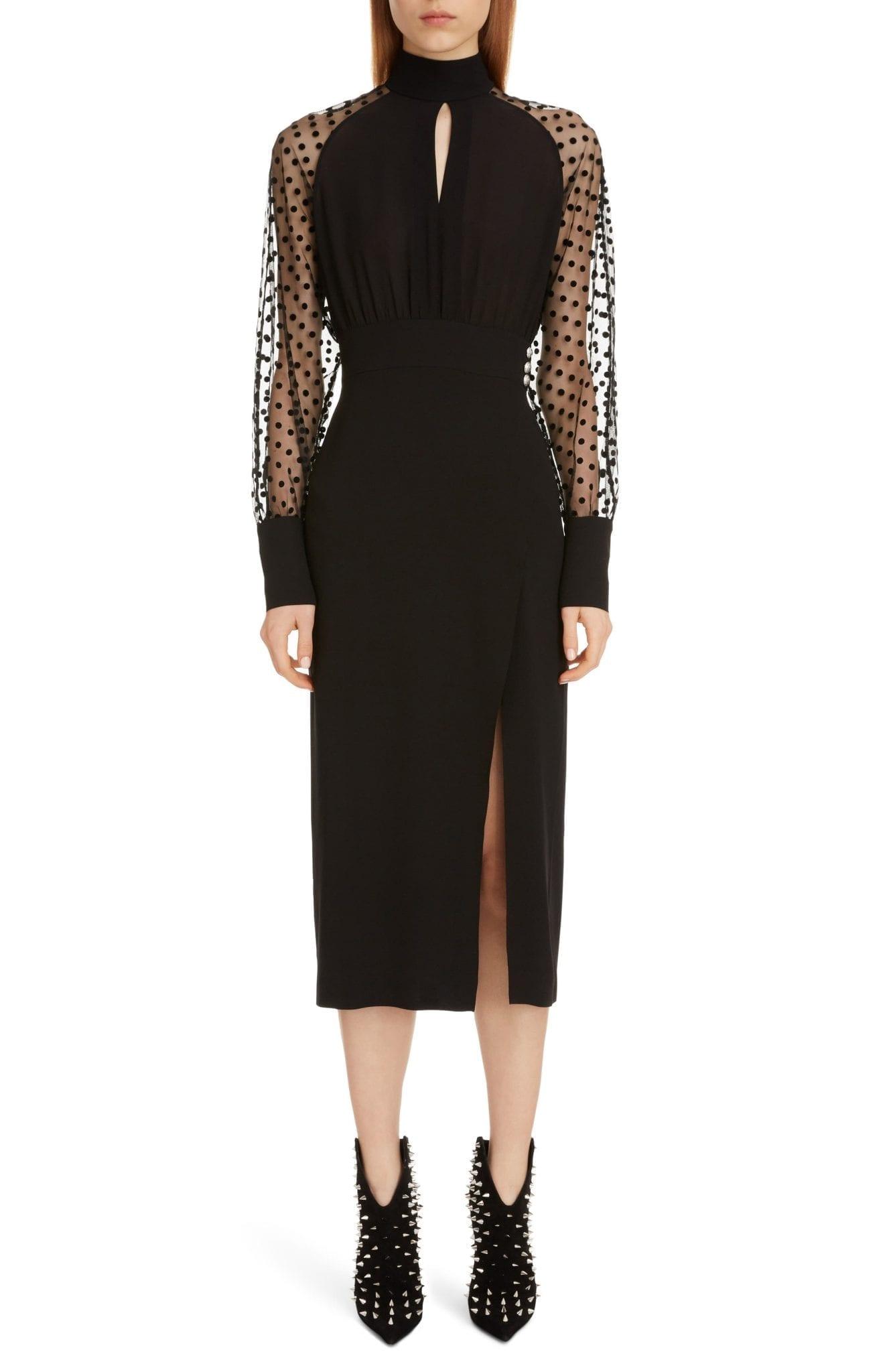 BALMAIN Swiss Dot & Crepe Long Sleeve Midi Dress
