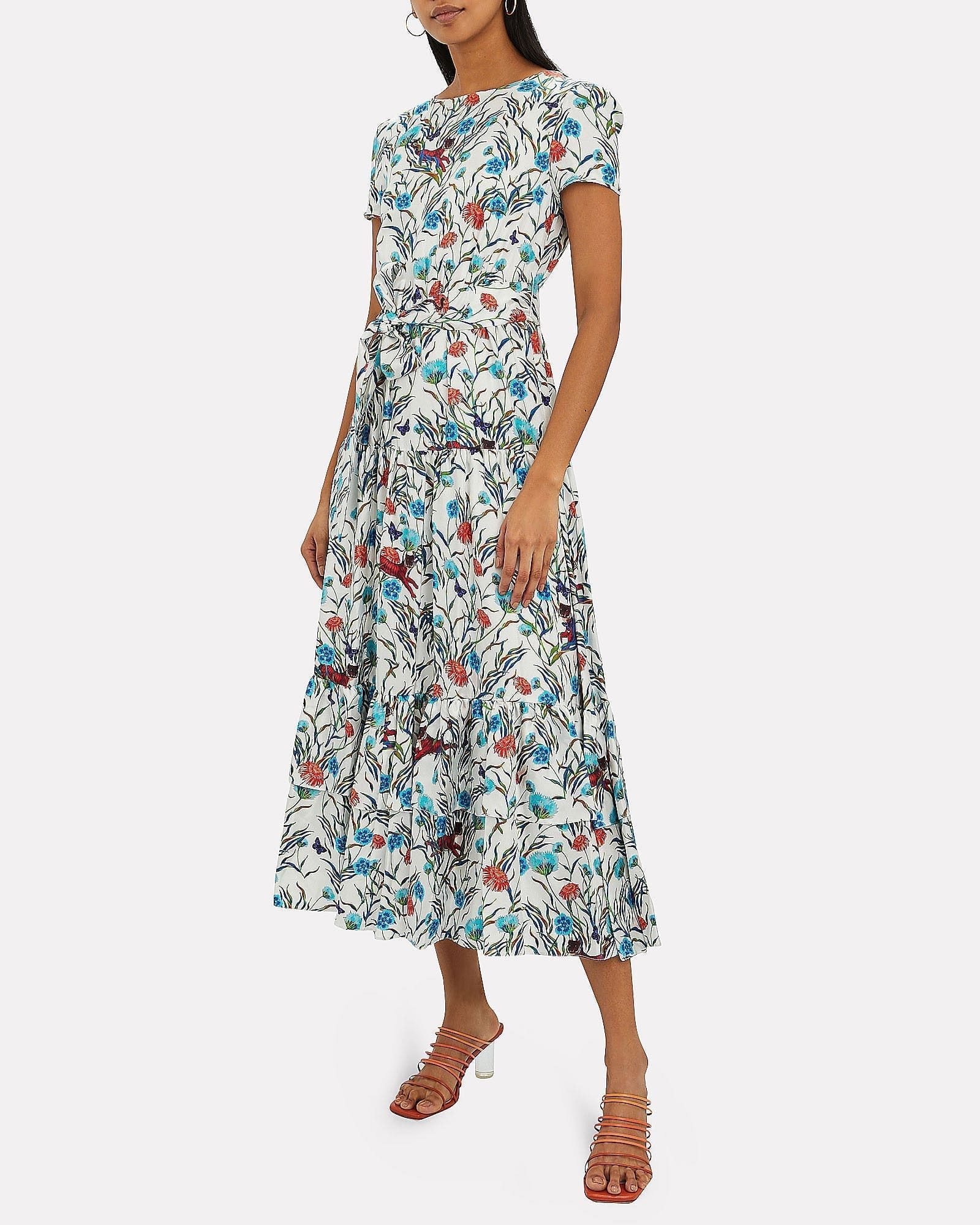 BORGO DE NOR Elisa Silk Floral Midi Dress