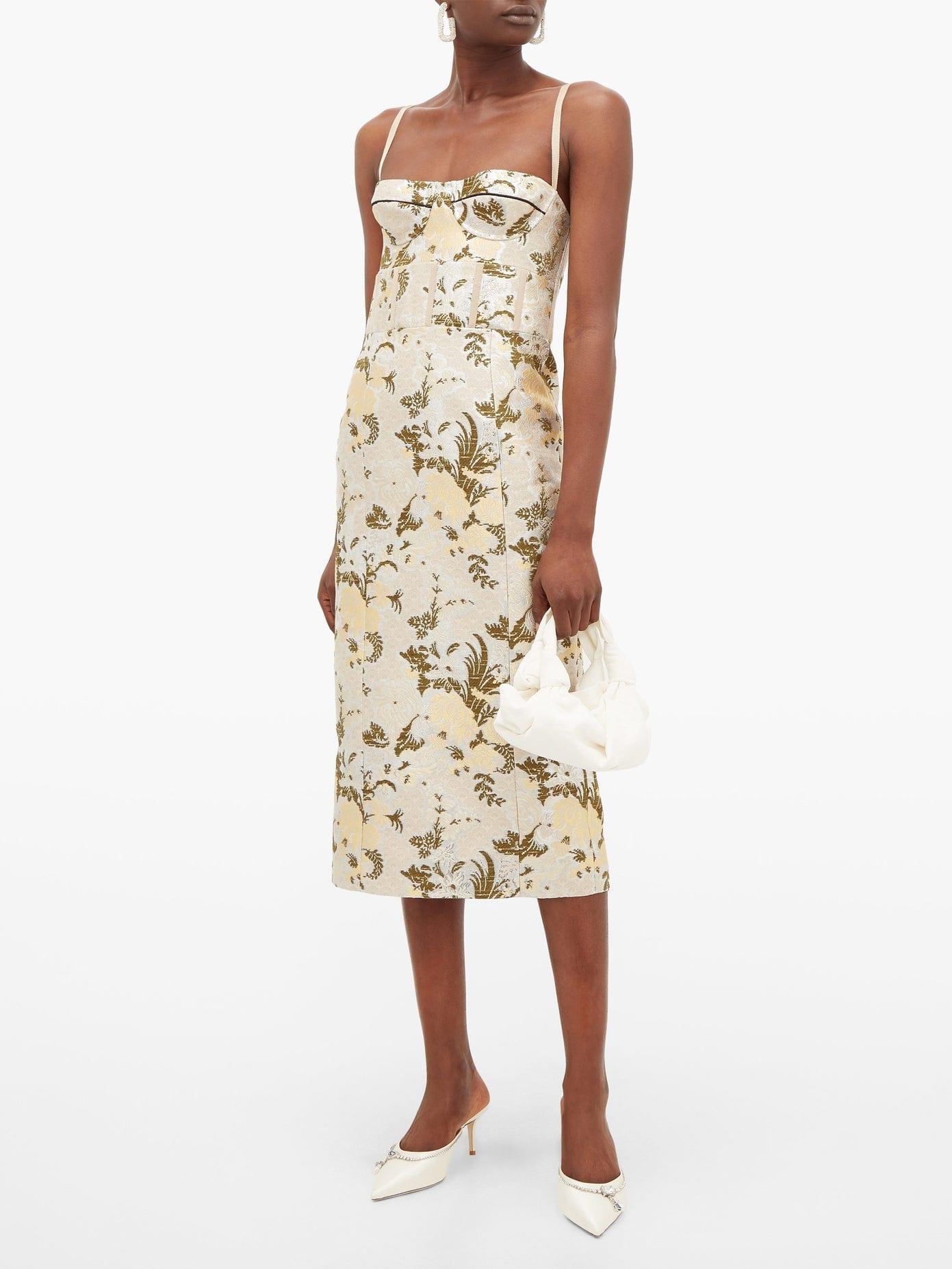 BROCK COLLECTION Floral-brocade Bustier Midi Dress