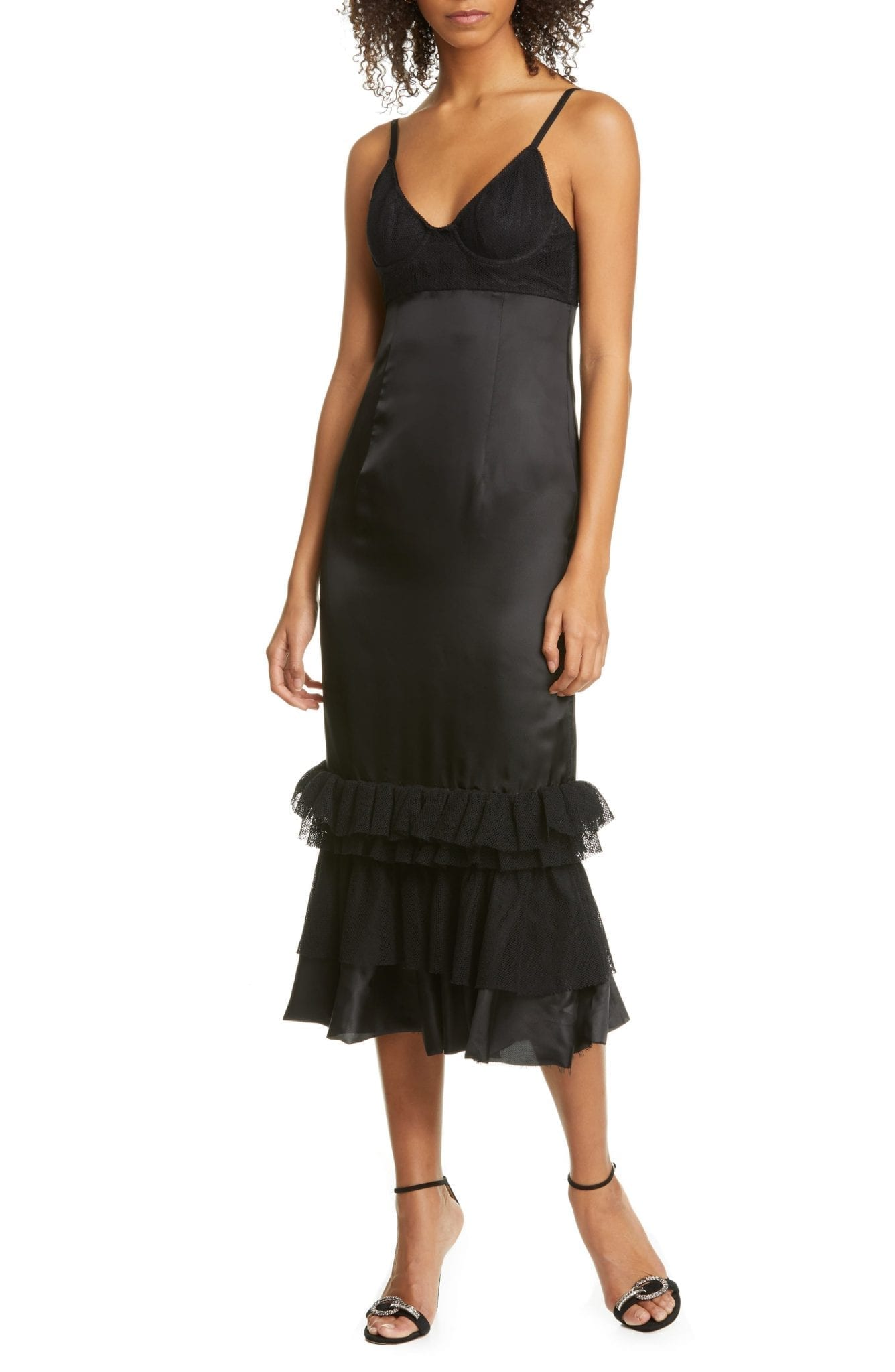 BROCK COLLECTION Ruffle Hem Bustier Midi Dress