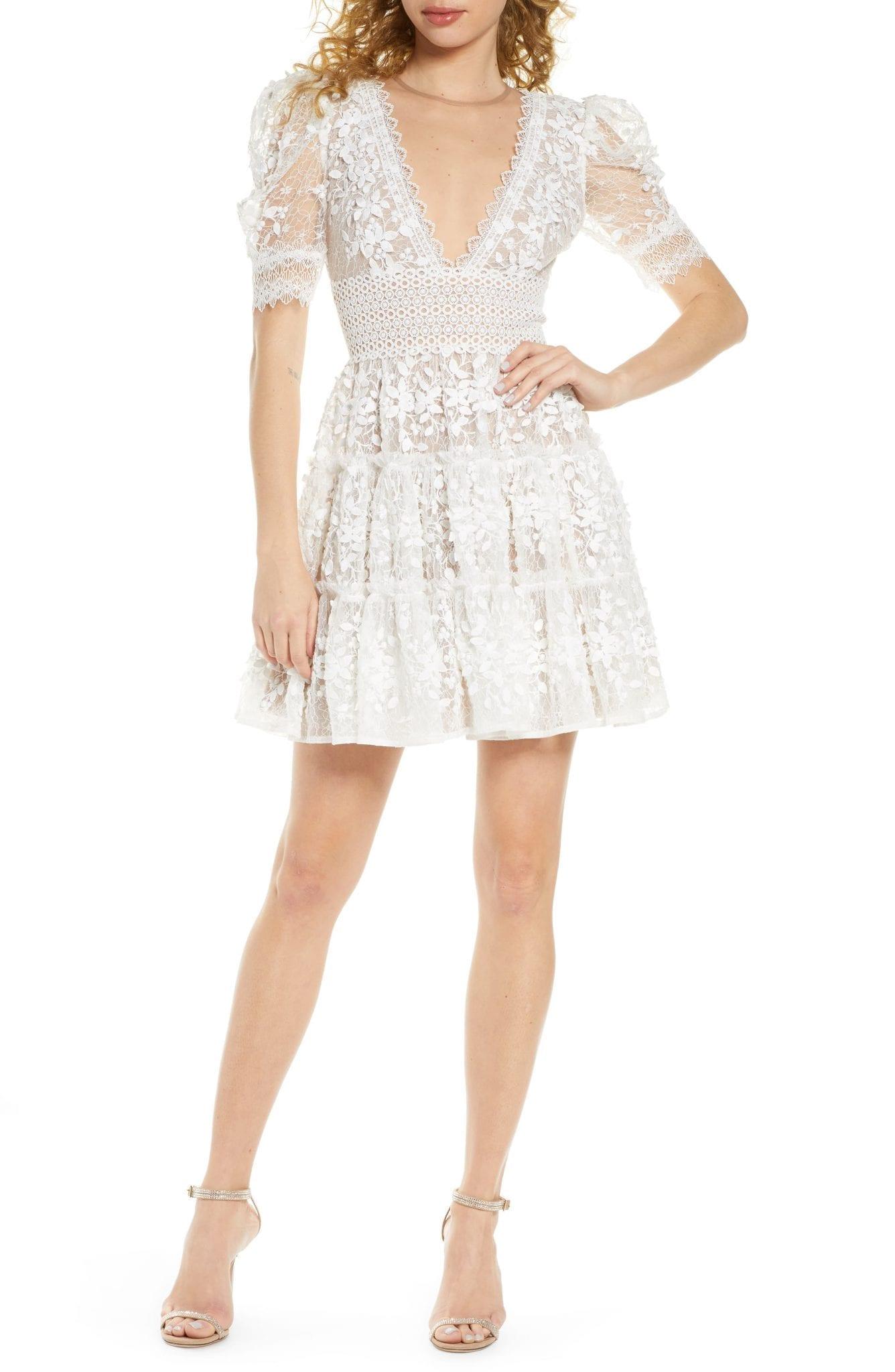 BRONX AND BANCO Megan Floral Lace Mini Dress