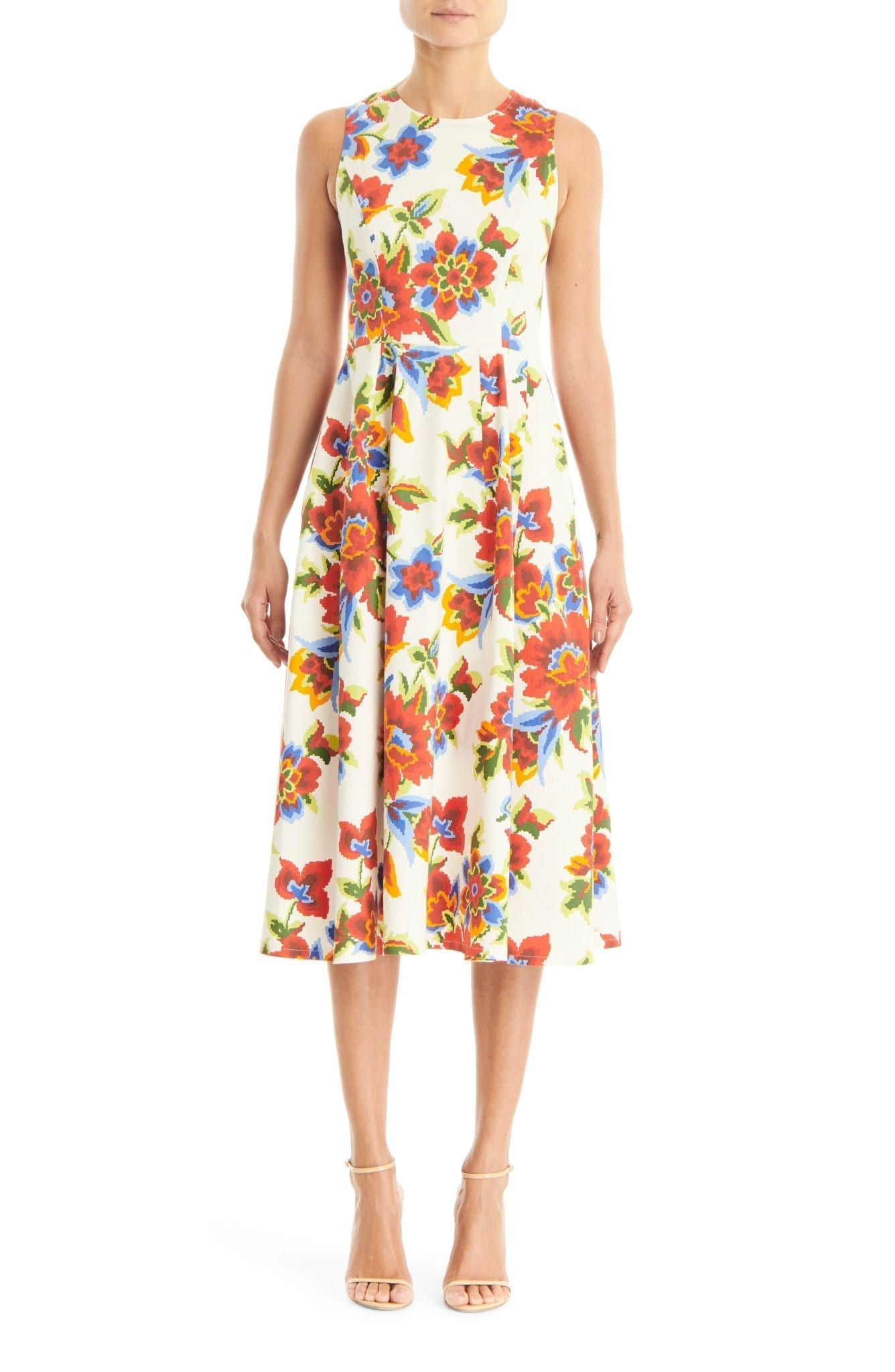 CAROLINA HERRERA Sleeveless A-Line Midi Dress