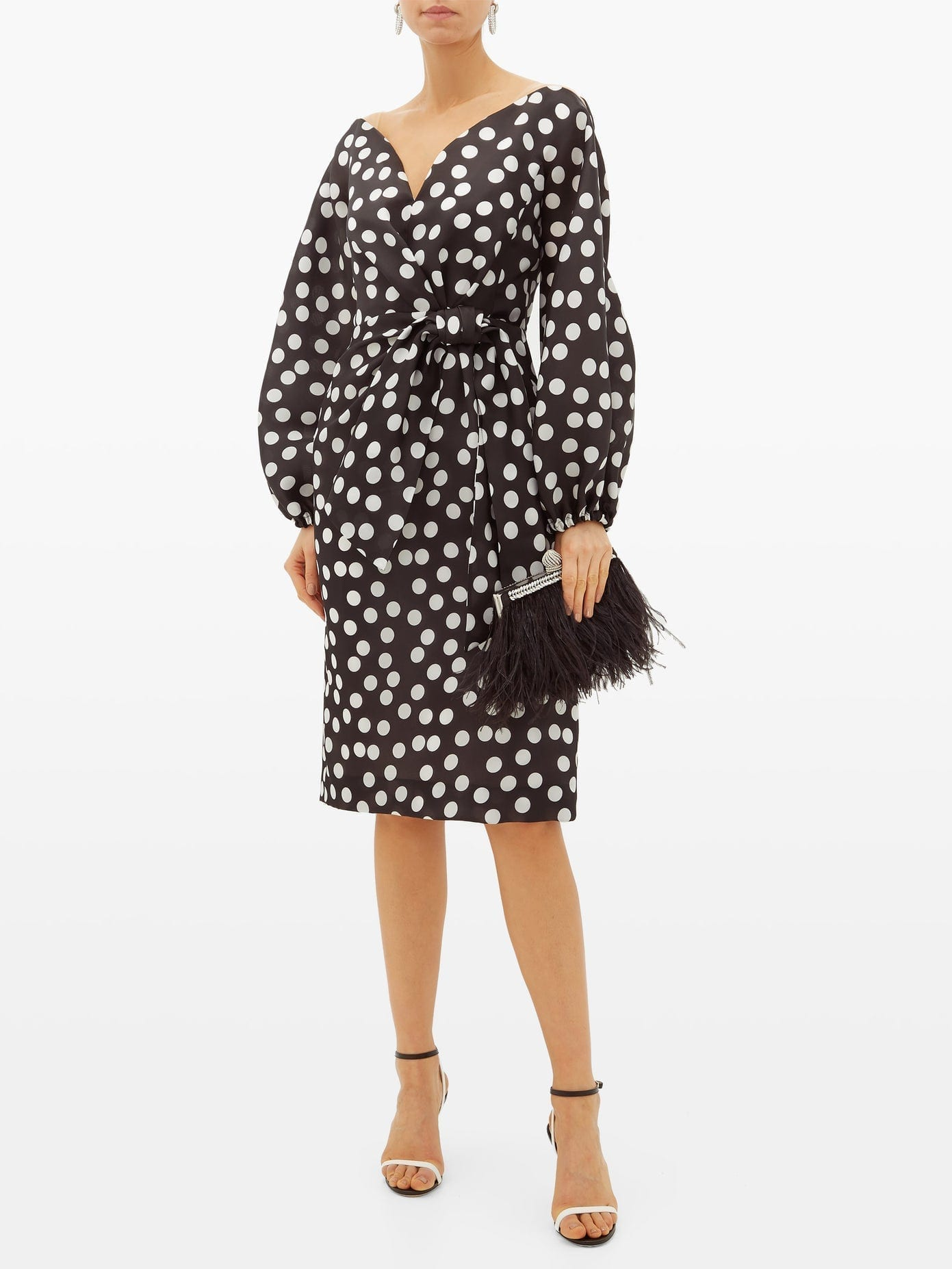CAROLINA HERRERA Sweetheart-Neckline Polka-Dot Silk Dress