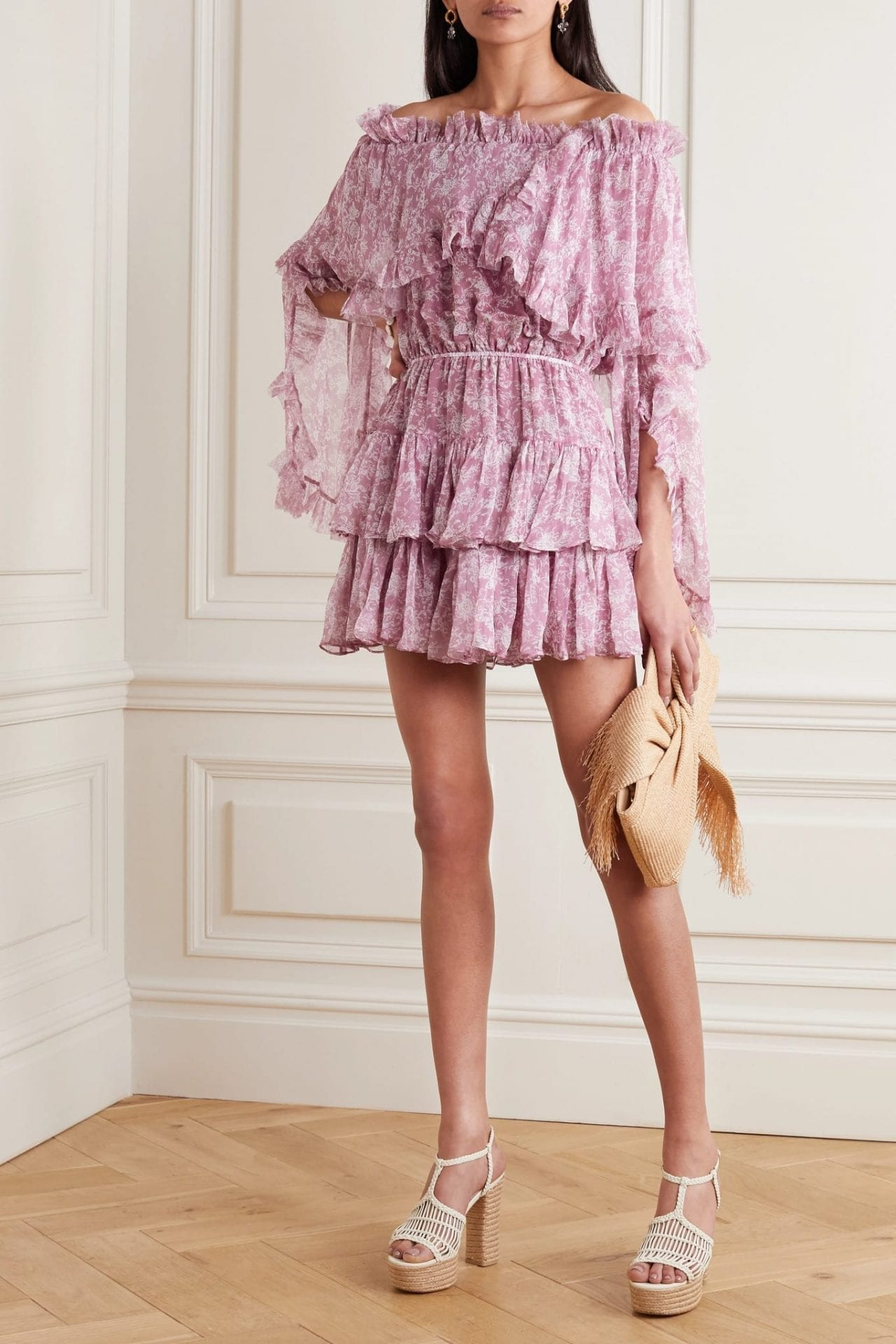 CAROLINE CONSTAS Dahlia Off-the-shoulder Ruffled Silk-chiffon Mini Dress
