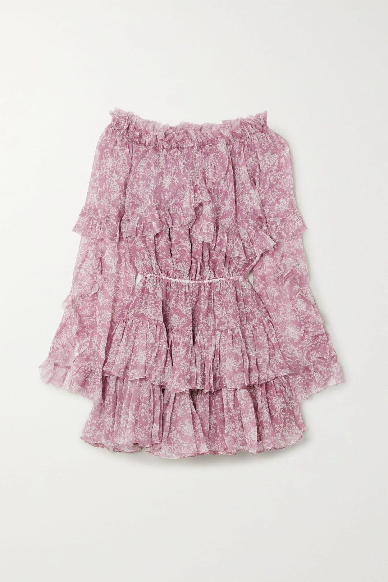 CAROLINE CONSTAS Dahlia Off-the-shoulder Ruffled Silk-chiffon Mini Dress