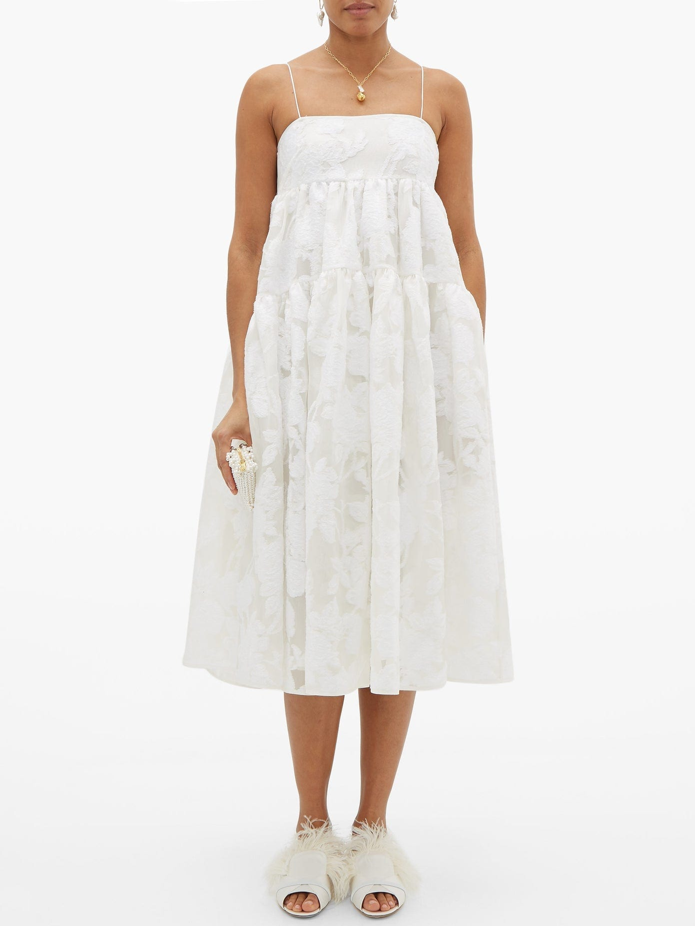 CECILIE BAHNSEN Sofie Tie-back Rose-chinée Dress