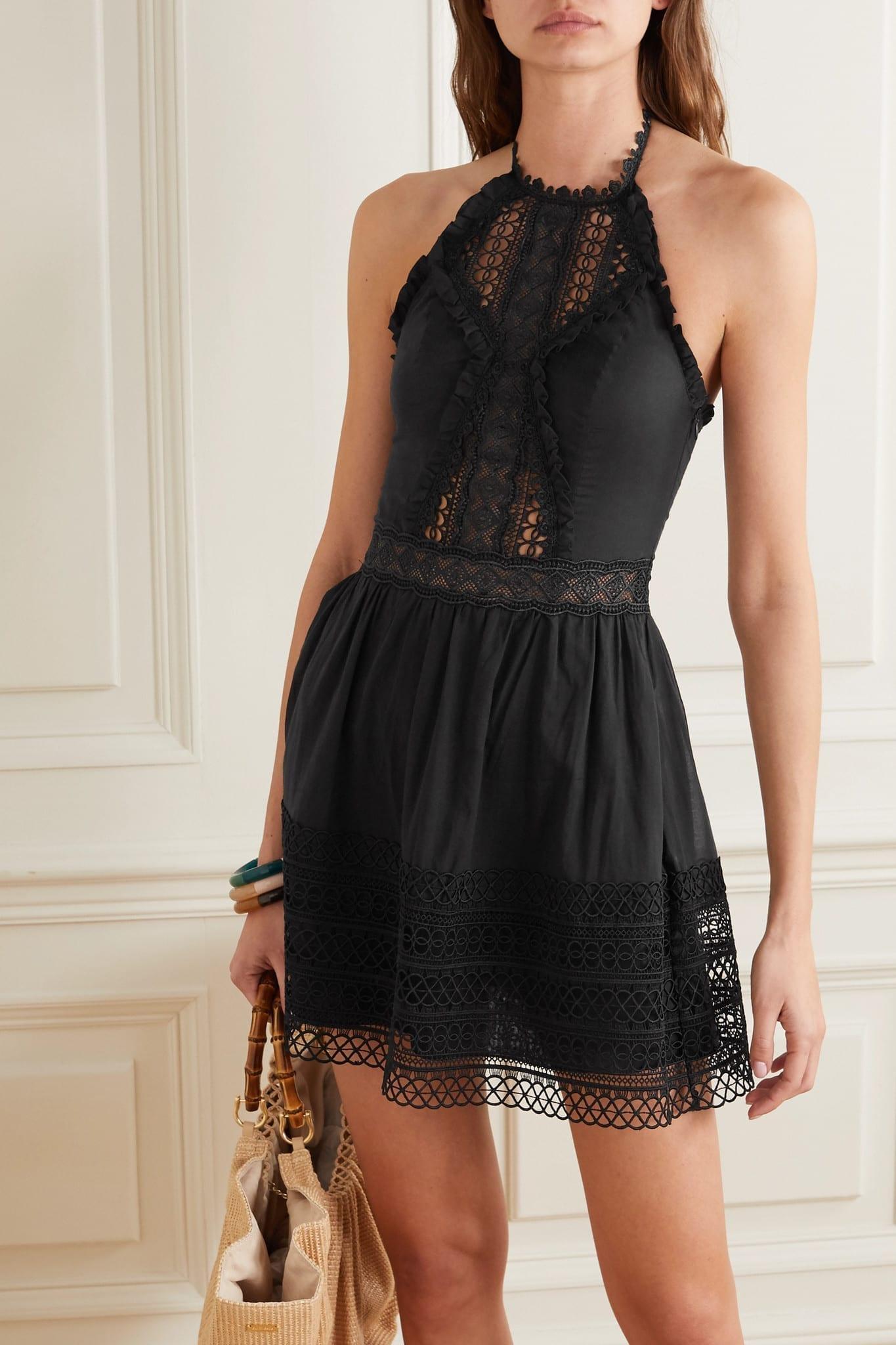 CHARO RUIZ Andrea Crocheted Lace-paneled Cotton-blend Mini Dress