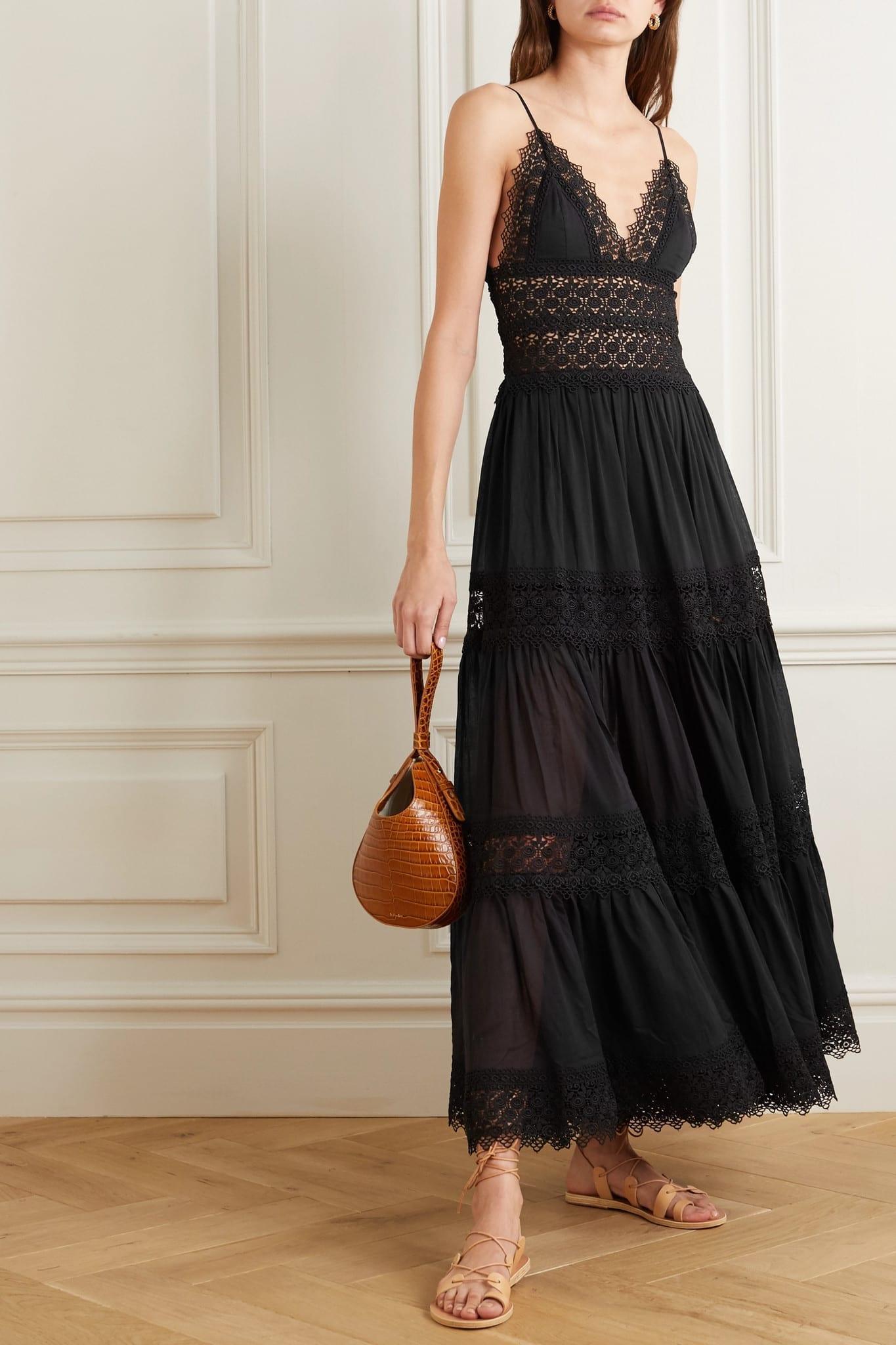 CHARO RUIZ Cindy Crocheted Lace-paneled Cotton-blend Maxi Dress