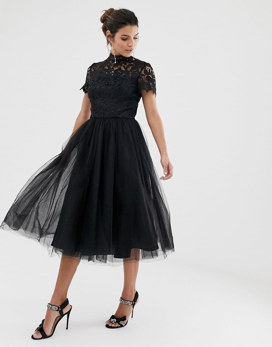 CHI CHI LONDON High Neck Tulle Skirt Lace Midi Dress