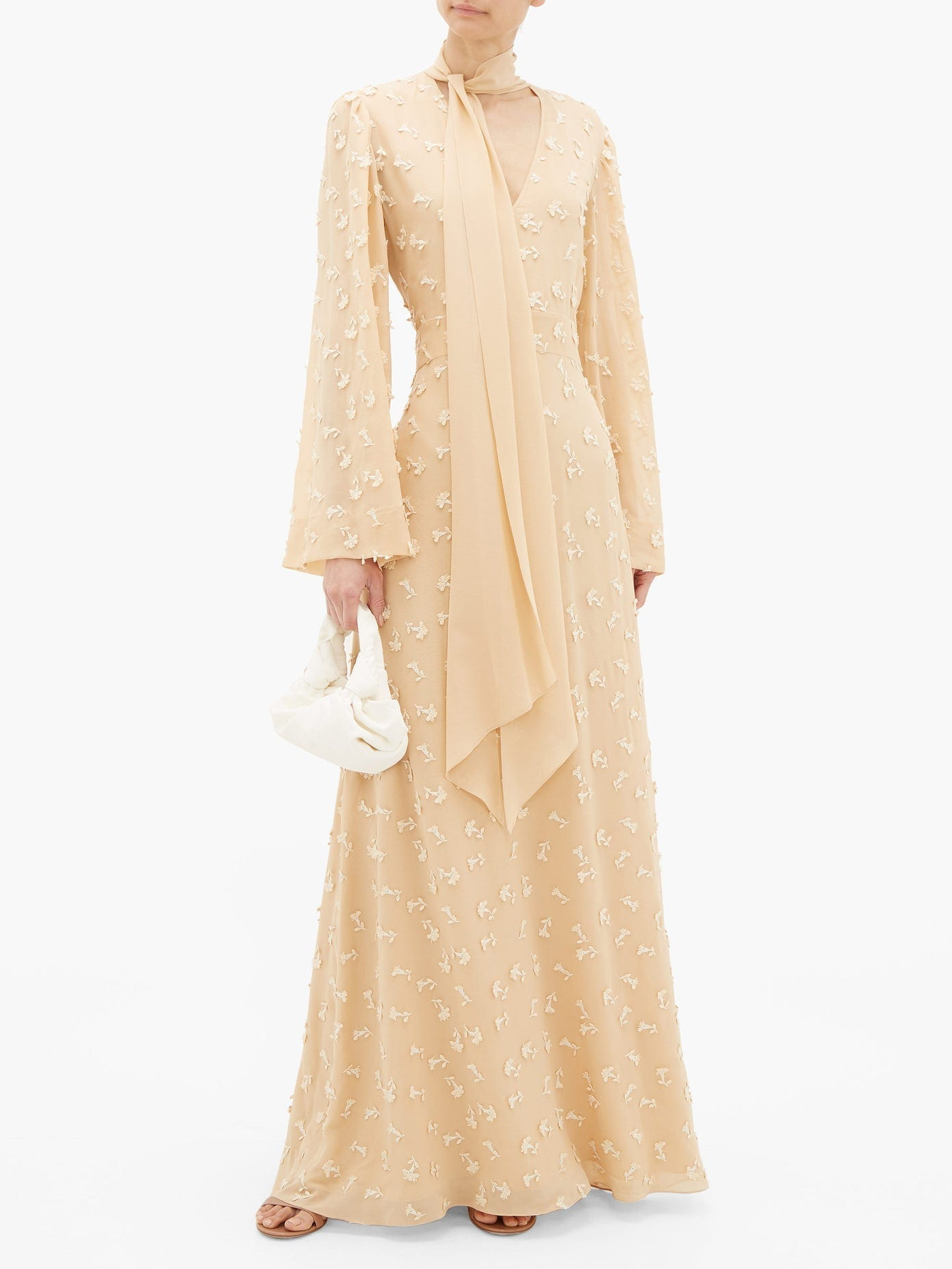 CHLOÉ Floral Appliqué Silk-Georgette Dress