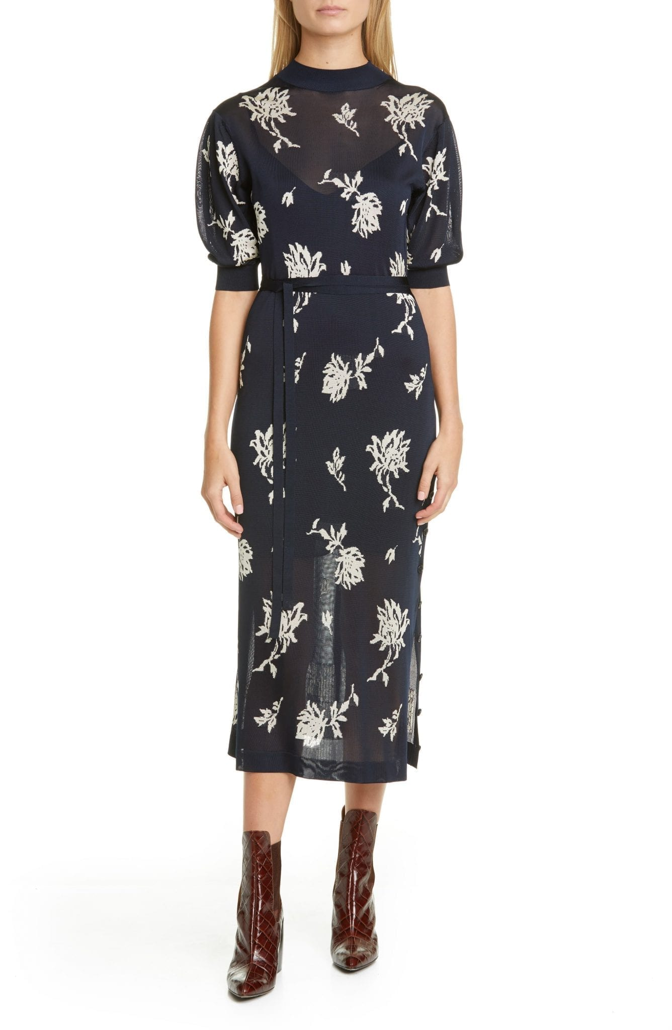 CHLOÉ Floral Jacquard Midi Sweater Dress