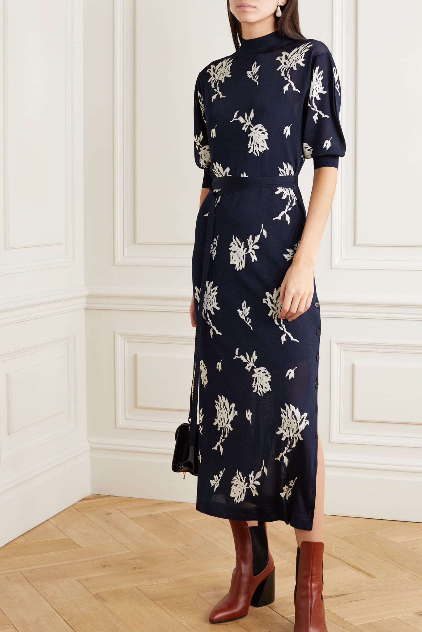 CHLOÉ Jacquard-knit Midi Dress