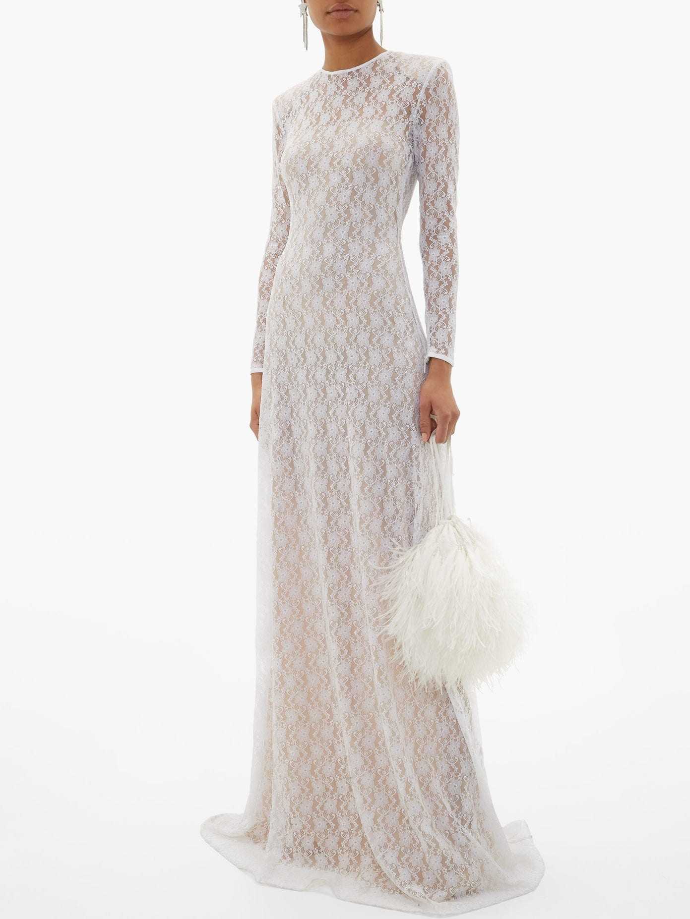 CHRISTOPHER KANE Feather-trimmed Chantilly-lace Gown