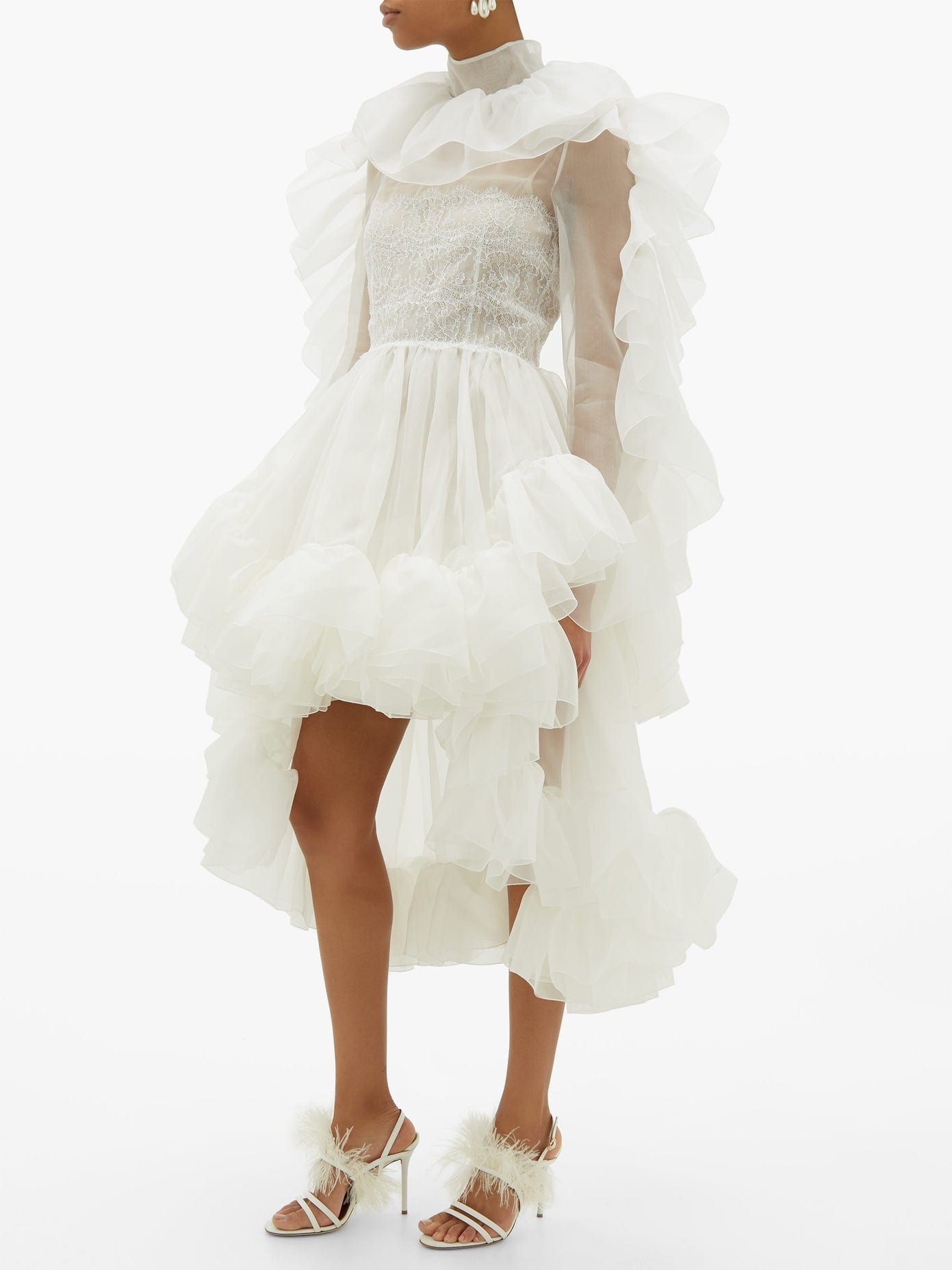 CHRISTOPHER KANE Ruffled Dip-hem Silk-organza Dress