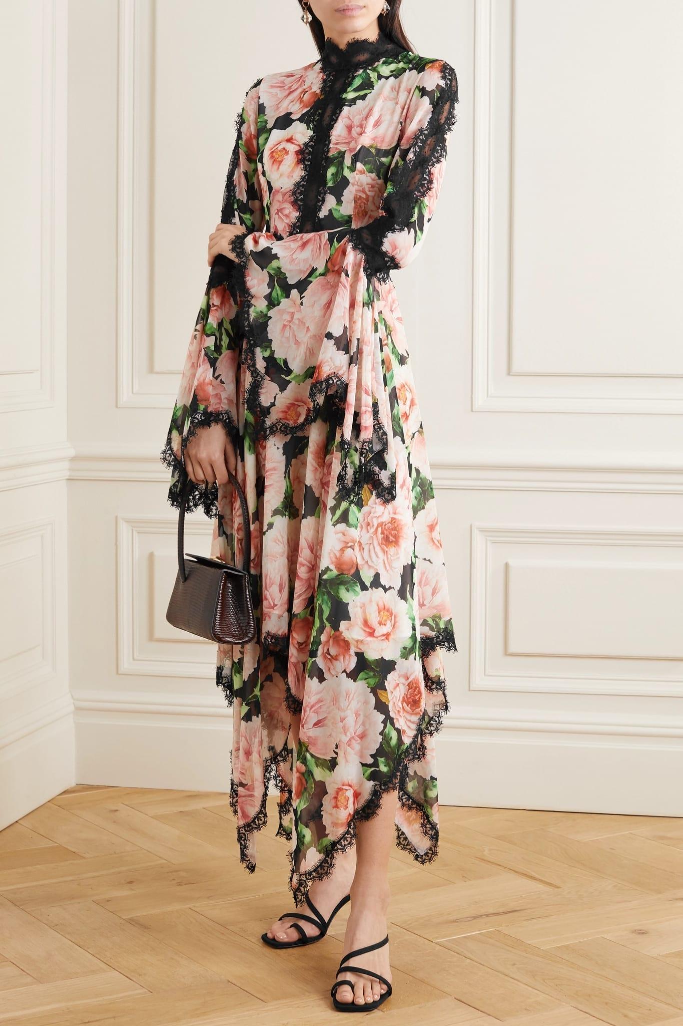COSTARELLOS Asymmetric Lace-trimmed Floral-print Silk-georgette Dress