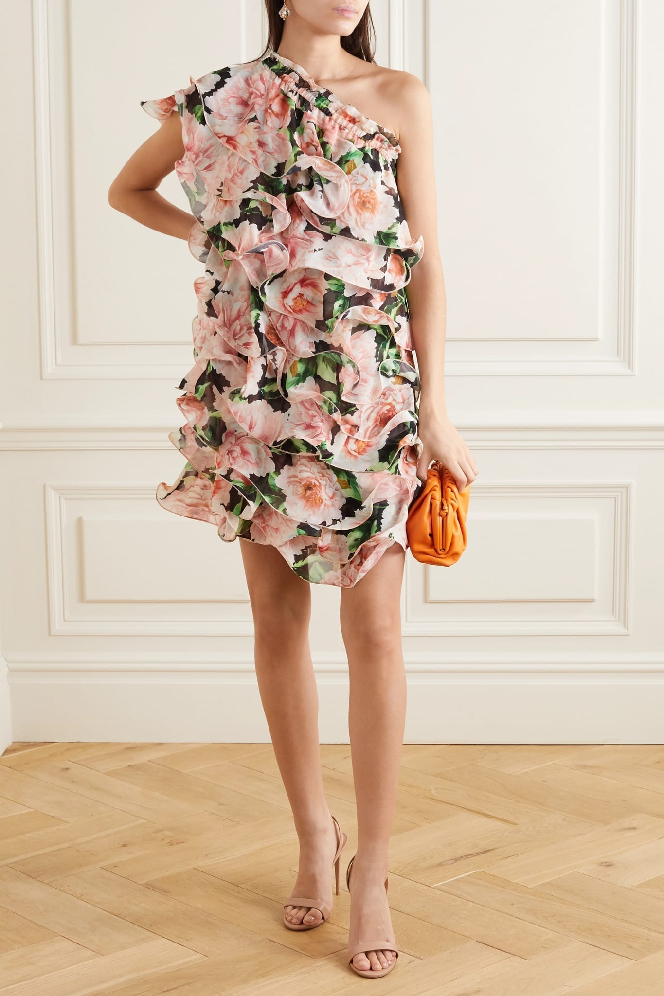 COSTARELLOS One-shoulder Ruffled Floral-print Georgette Mini Dress