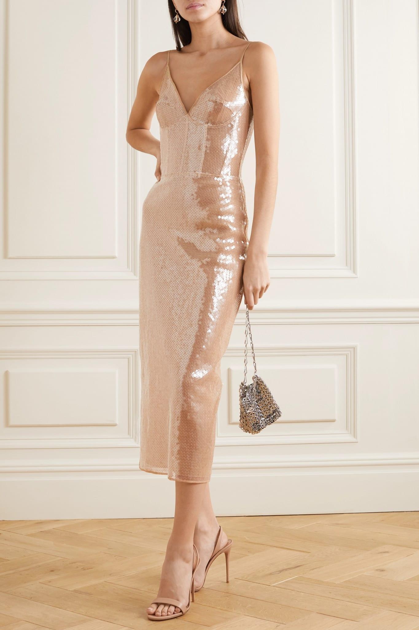 DAVID KOMA Sequined Tulle Midi Dress