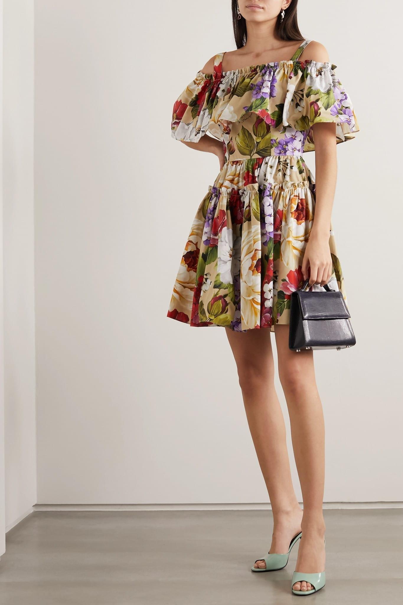 DOLCE & GABBANA Cold-shoulder Floral-print Cotton-poplin Mini Dress