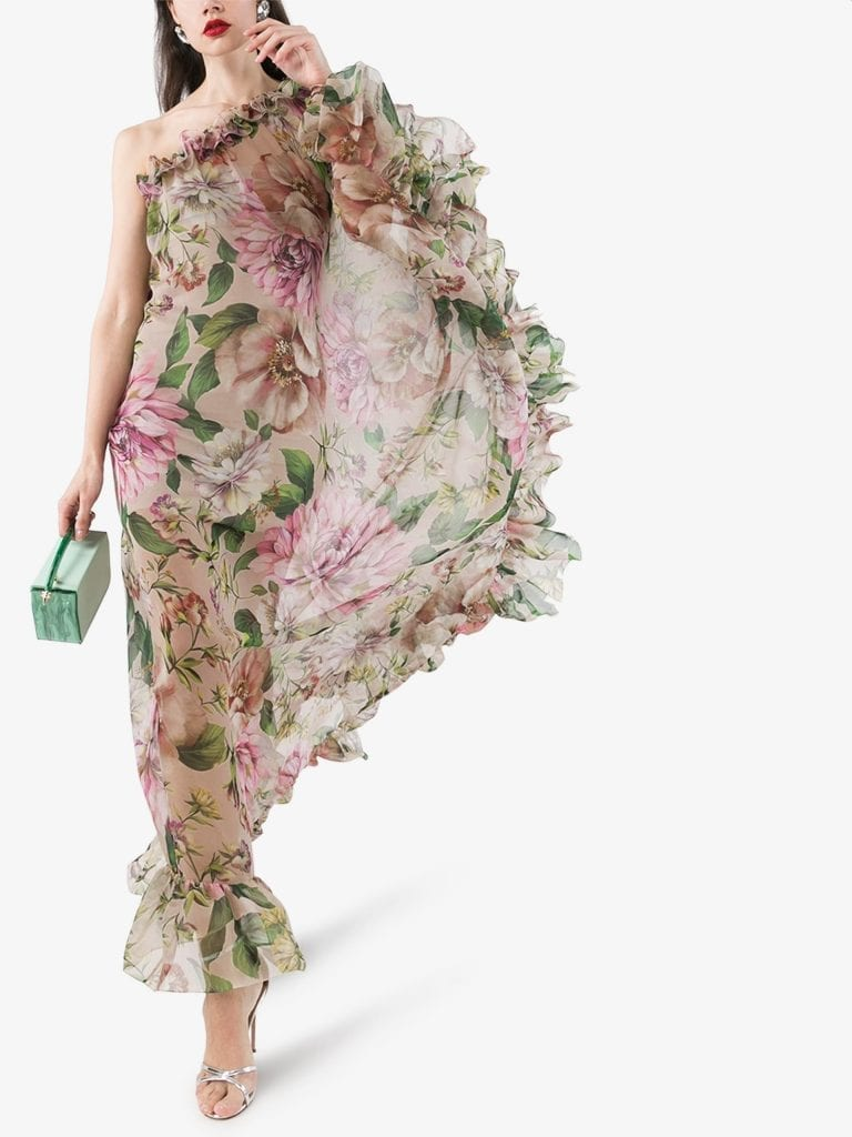 Dolce Amp Gabbana Floral One Shoulder Silk Chiffon Dress