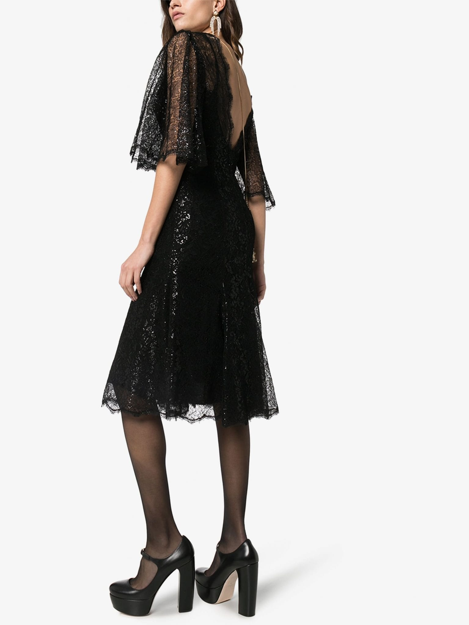 DOLCE & GABBANA Low Back Lace Flared Dress
