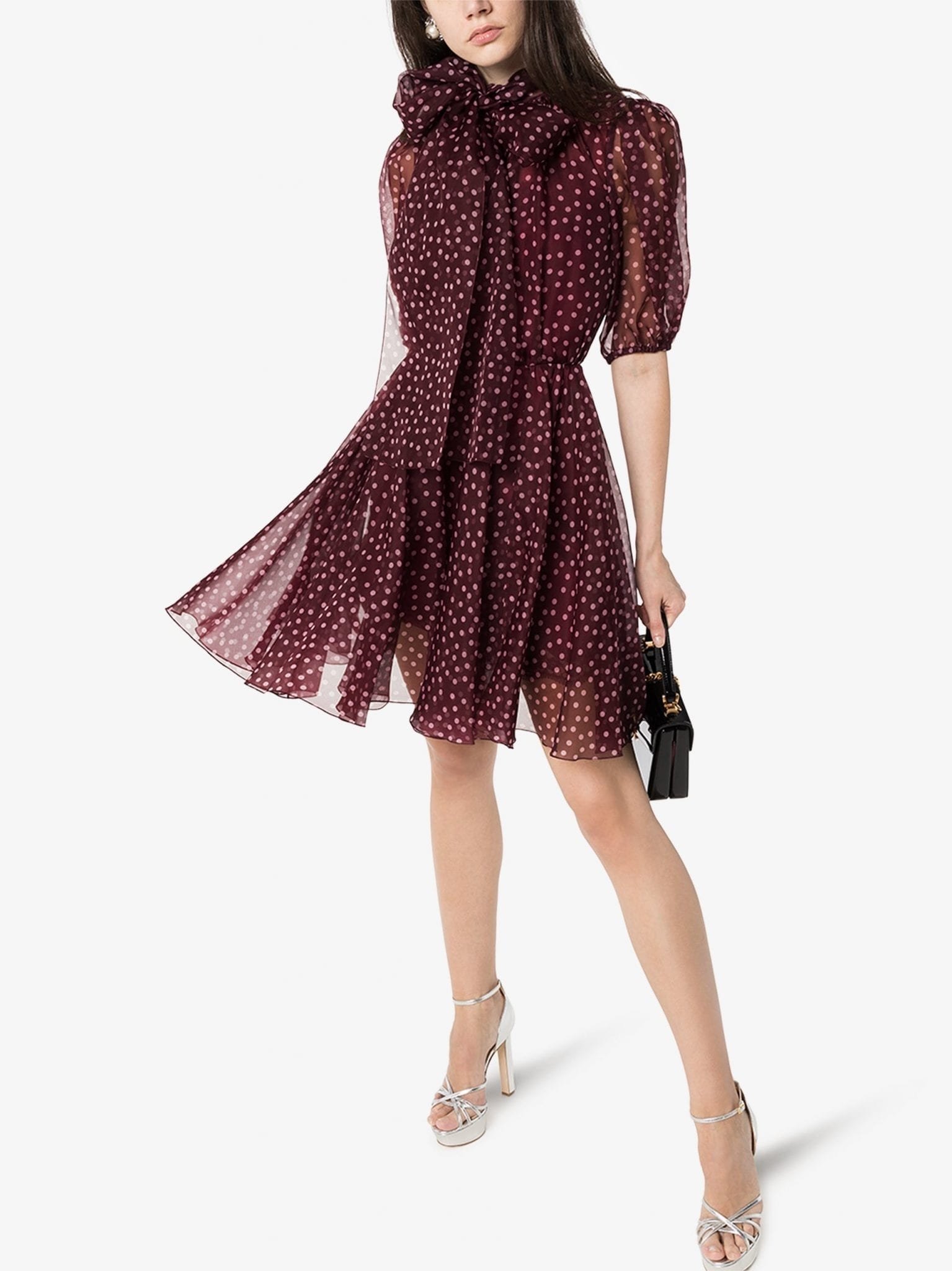 DOLCE & GABBANA Polka Dot Silk Organza Mini Dress