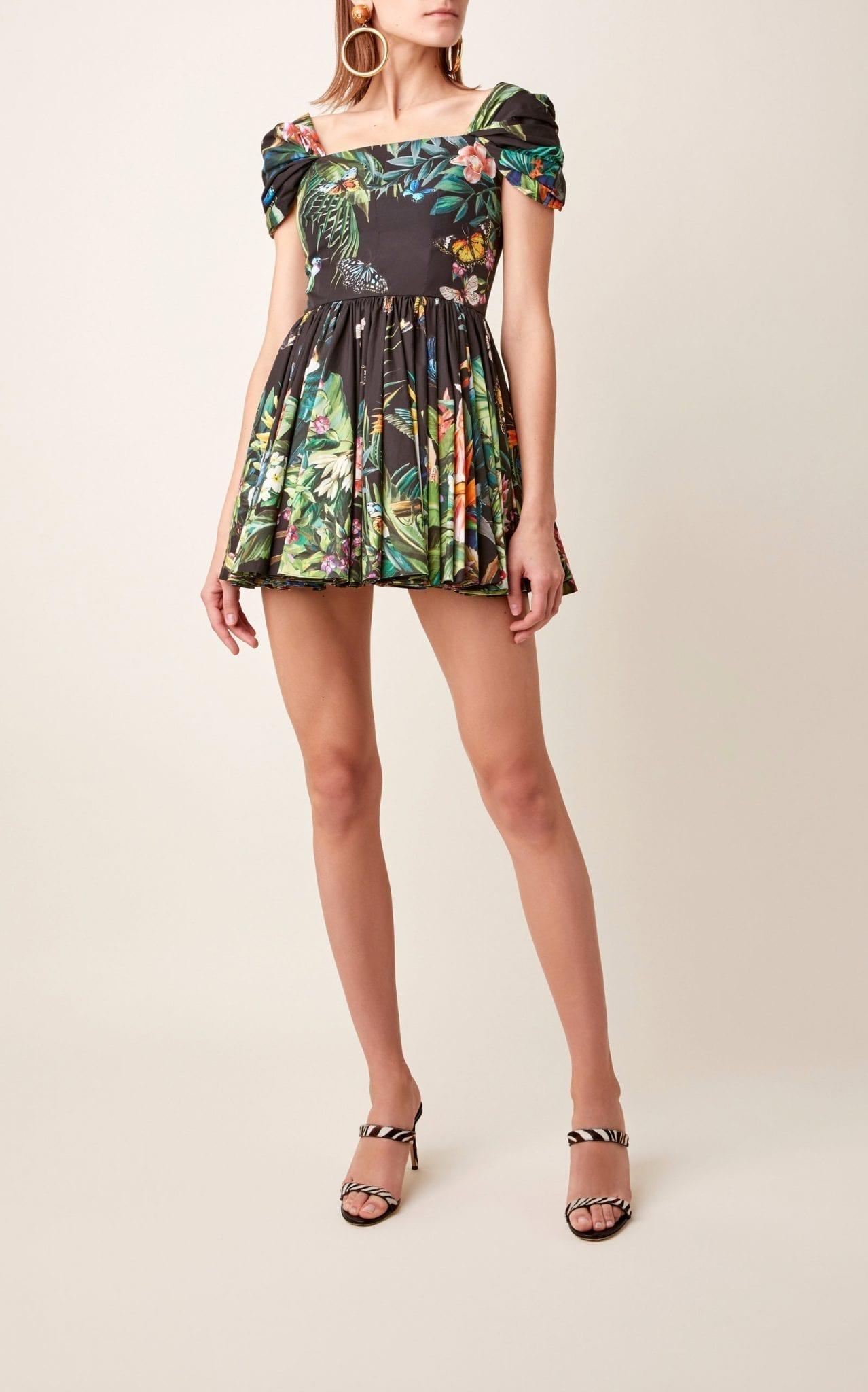 DOLCE & GABBANA Printed Cotton-Poplin Mini Dress