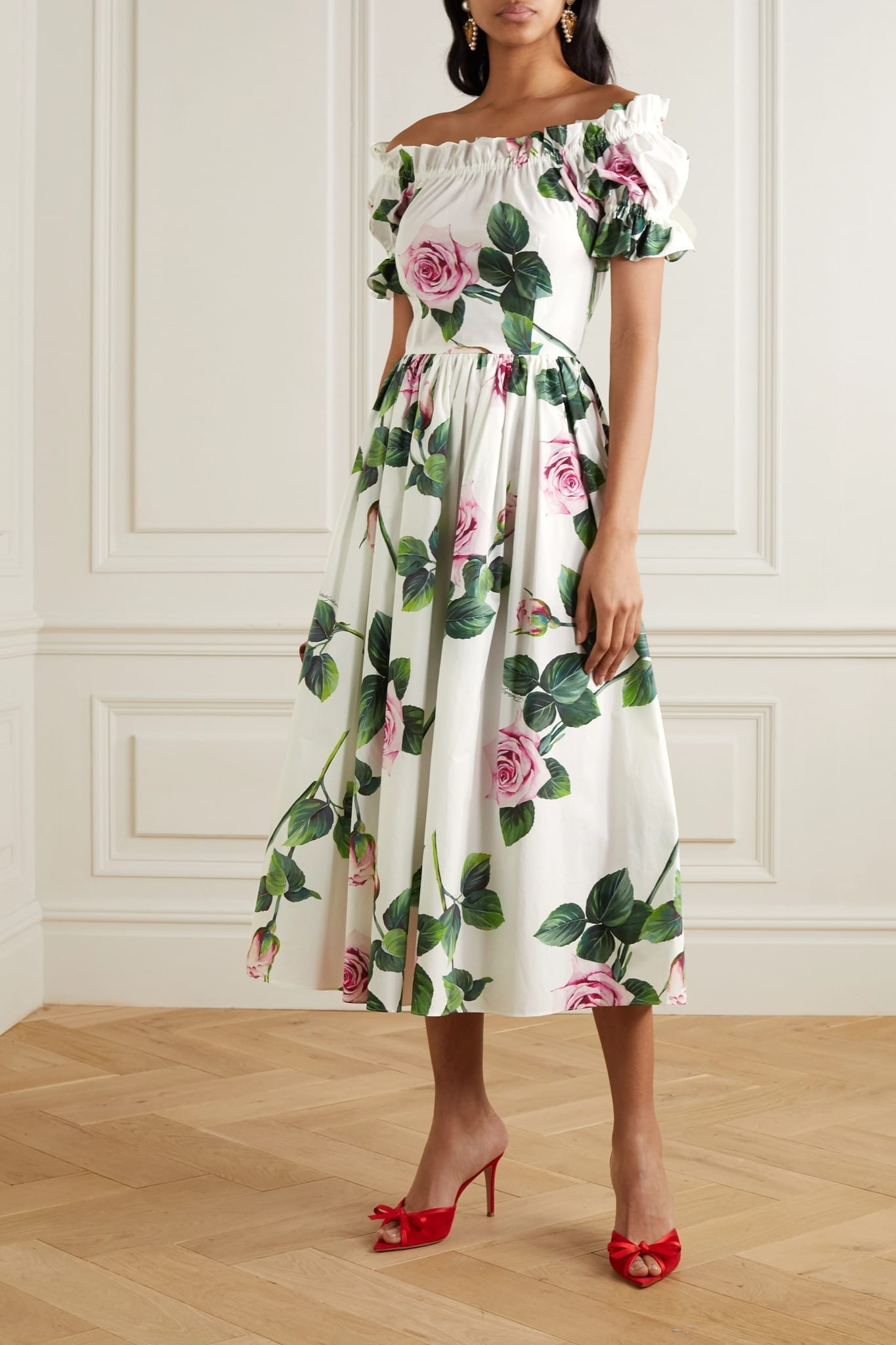 DOLCE & GABBANA Ruffled Floral-print Cotton-poplin Midi Dress