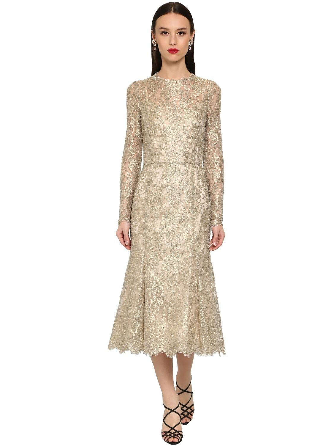 DOLCE & GABBANA Sheer Chantilly Lace Lamé Midi Dress