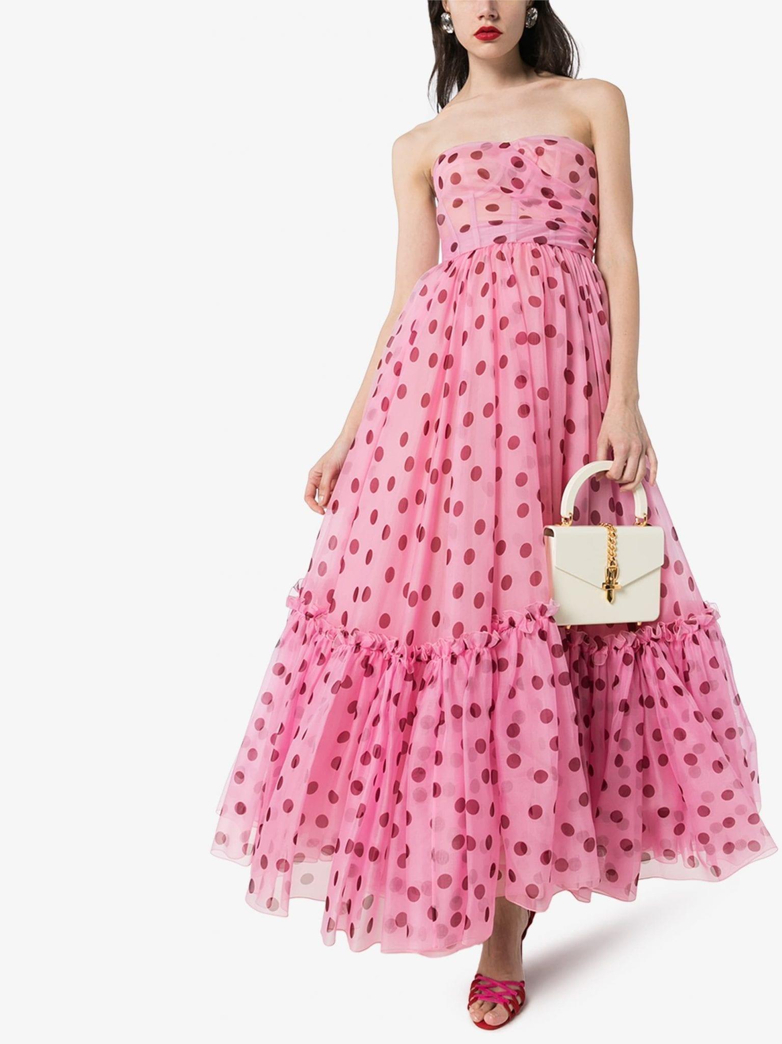 DOLCE & GABBANA Strapless Polka Dot Organza Dress