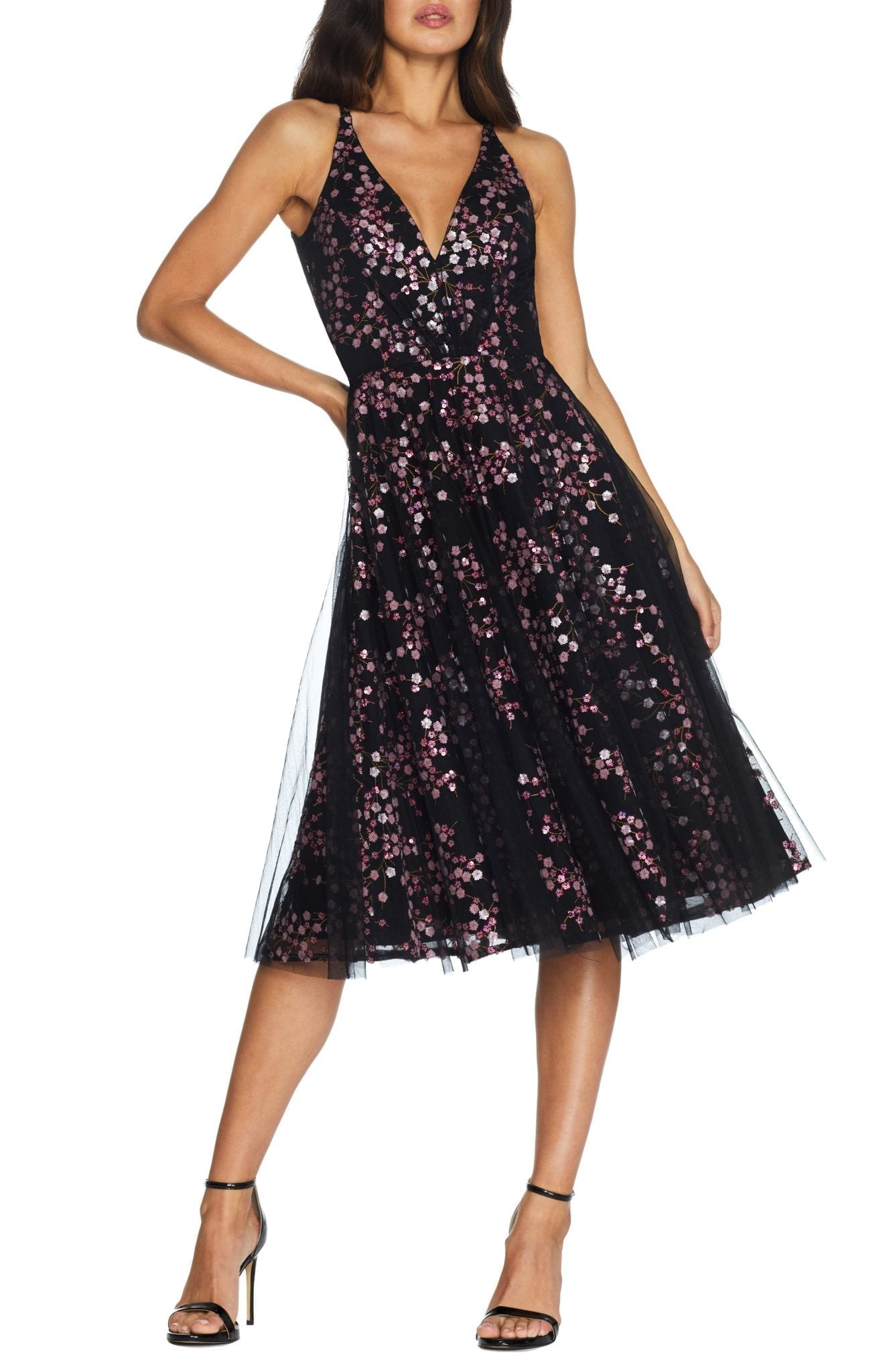 DRESS THE POPULATION Courtney Sequin Floral Cocktail Dress