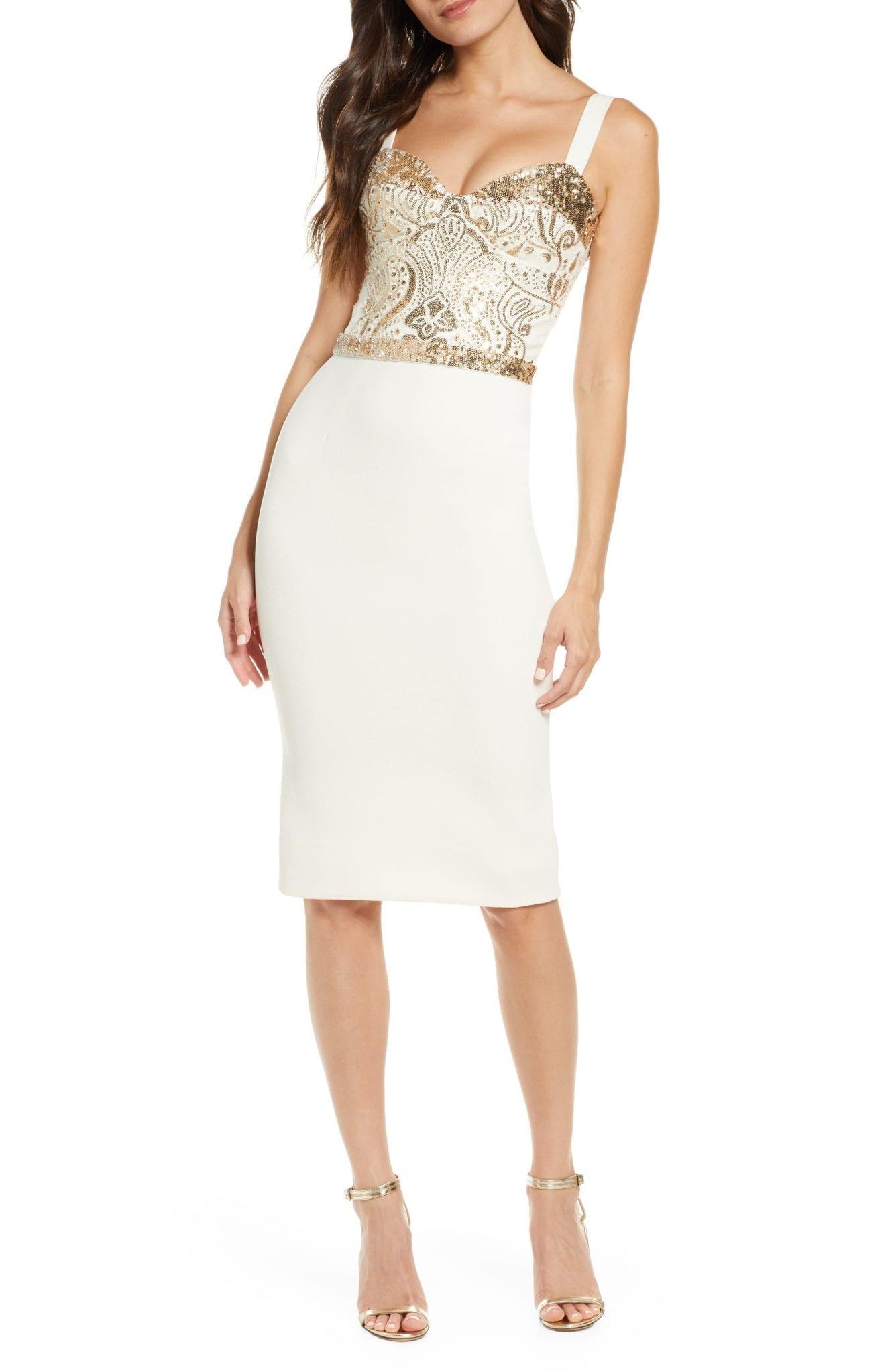 DRESS THE POPULATION Silvia Bustier Midi Dress