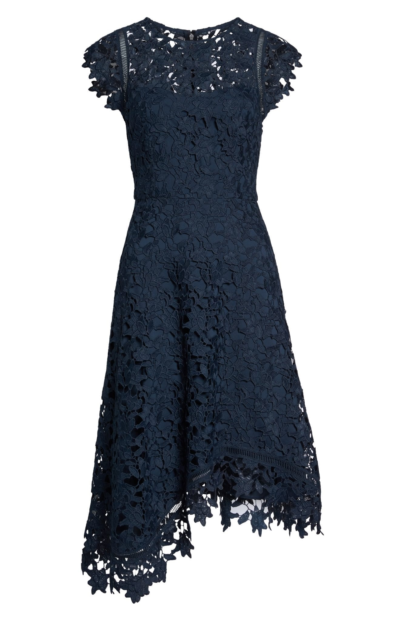Eliza J Asymmetrical Lace Fit Amp Flare Midi Dress We